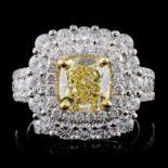 18K White Gold 3.92ctw Fancy Color Diamond Ring