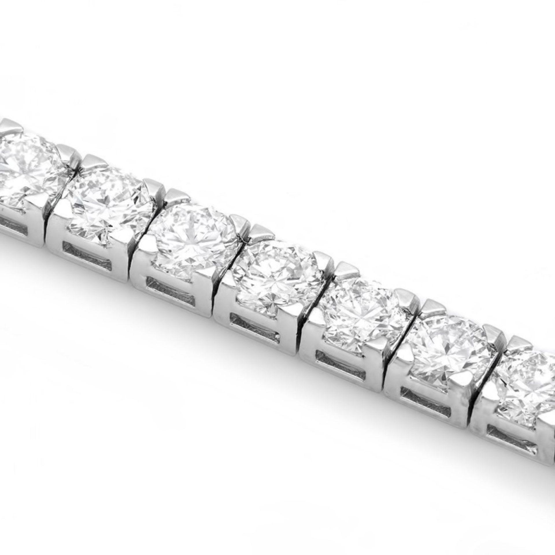 18k White Gold 9.50ct Diamond Tennis Bracelet - Image 2 of 4