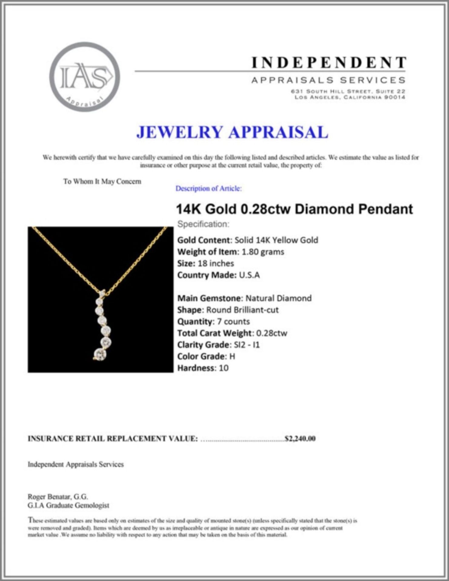 14K Gold 0.28ctw Diamond Pendant - Image 4 of 4