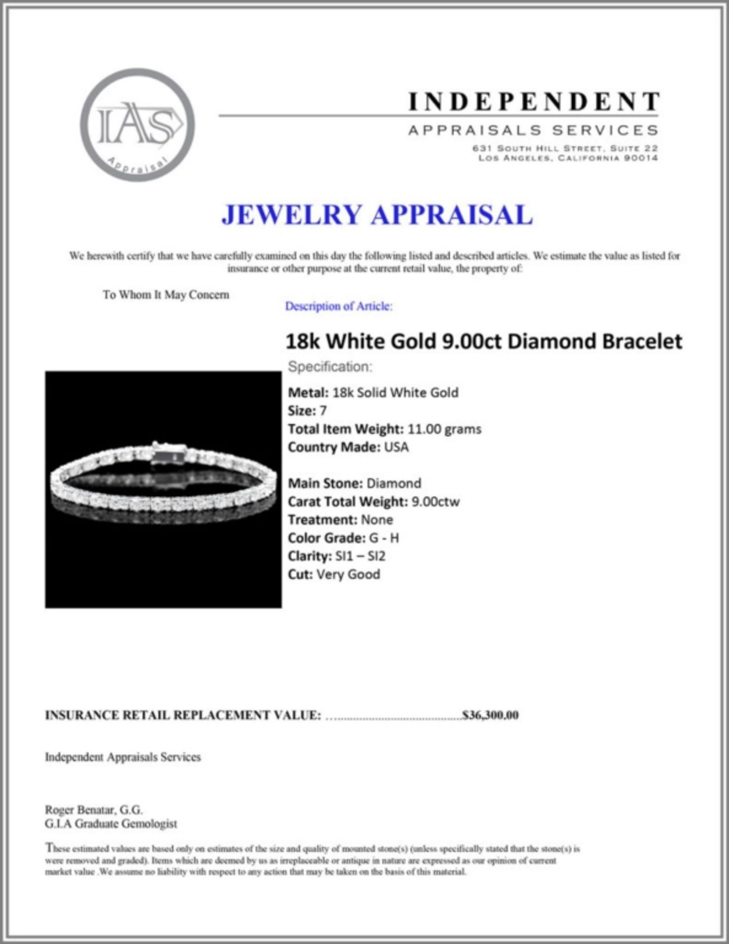 ^18k White Gold 9.00ct Diamond Bracelet - Image 4 of 4