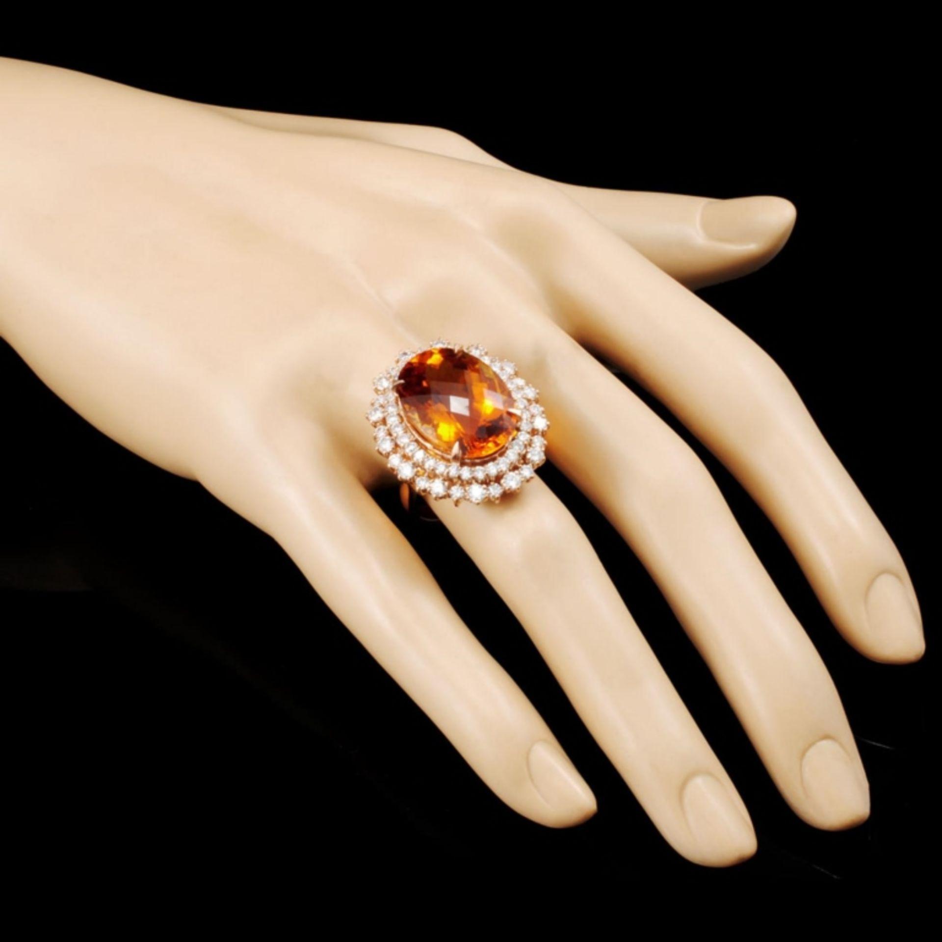 14K Gold 13.82ct Citrine & 2.30ctw Diamond Ring - Image 3 of 5