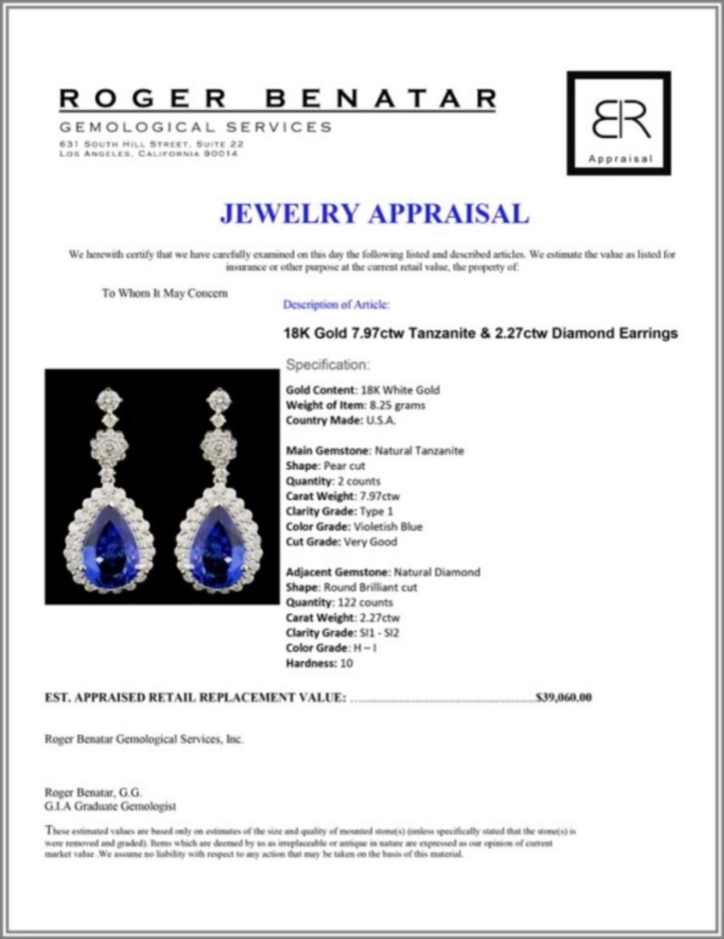 18K Gold 7.97ctw Tanzanite & 2.27ctw Diamond Earri - Image 3 of 3