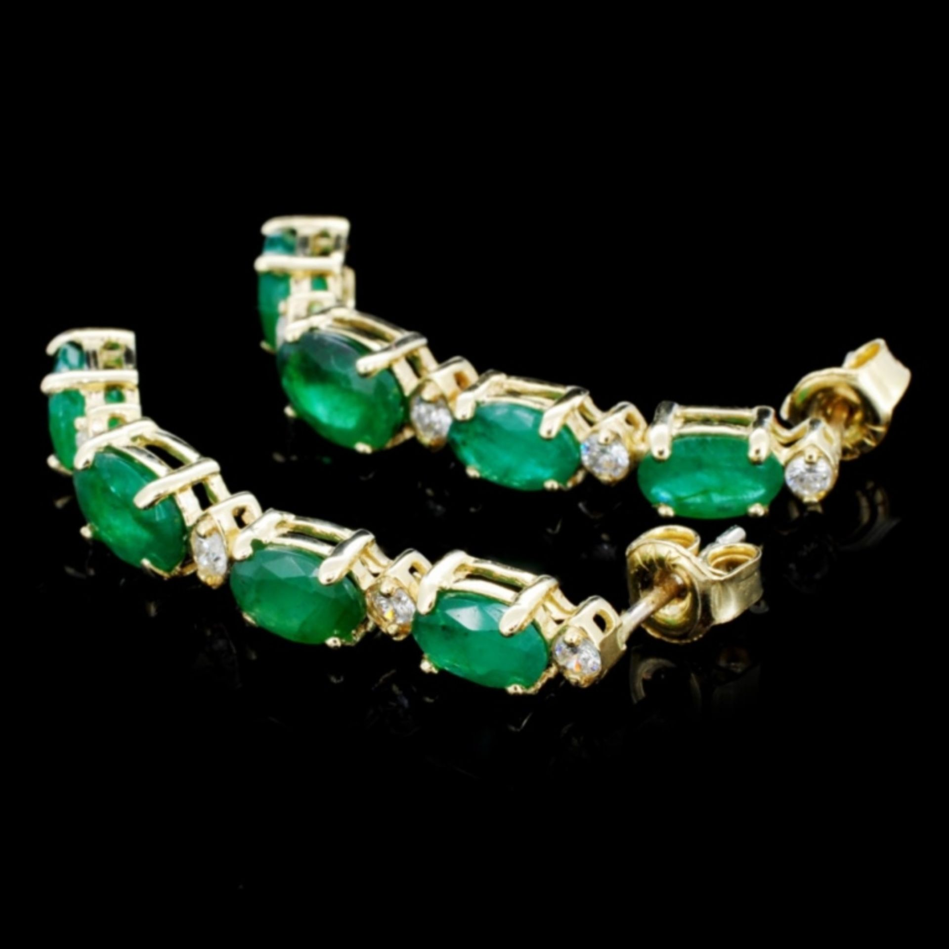 14K Gold 5.00ct Emerald & 0.35ctw Diamond Earrings - Image 2 of 3