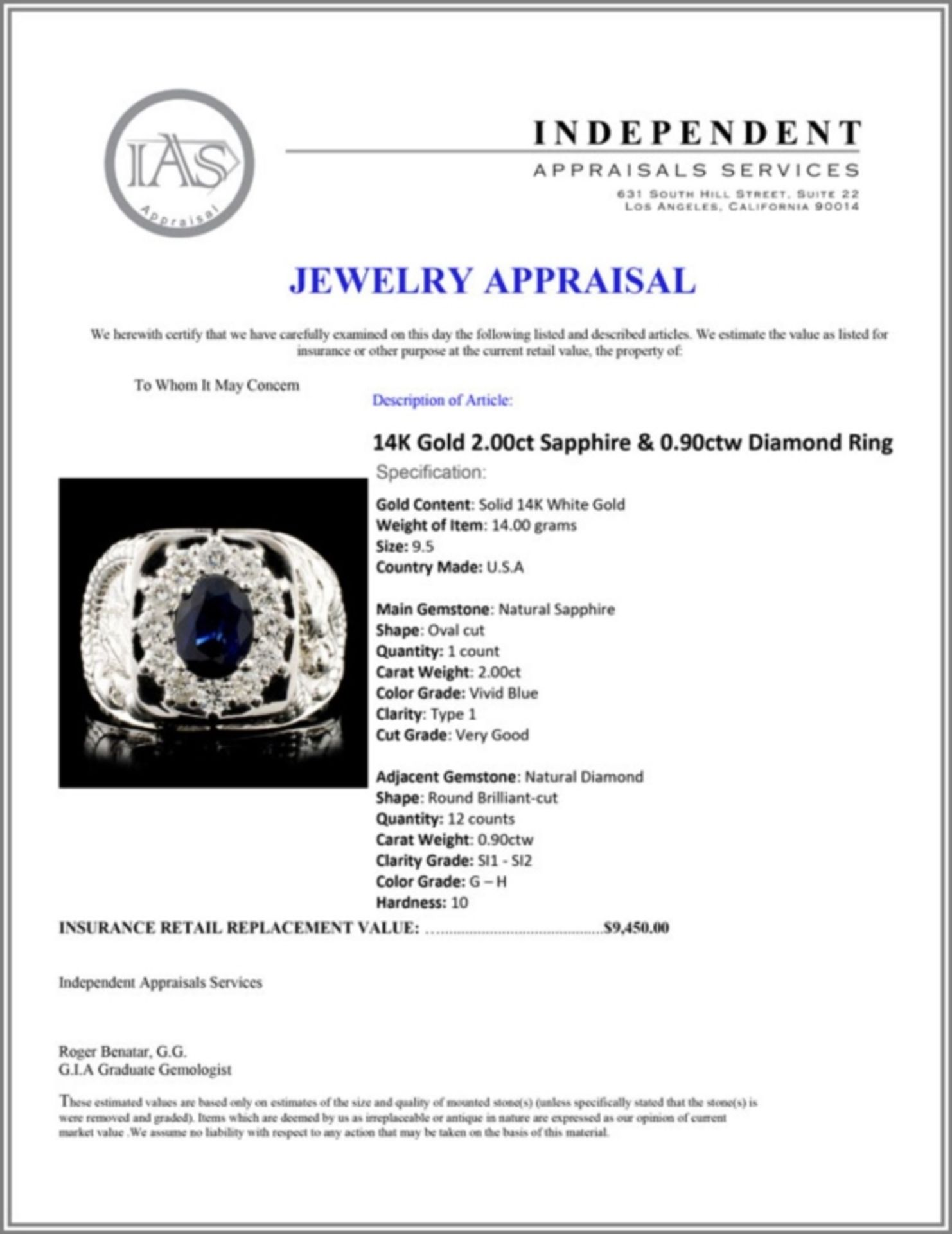 14K Gold 2.00ct Sapphire & 0.90ctw Diamond Ring - Image 5 of 5