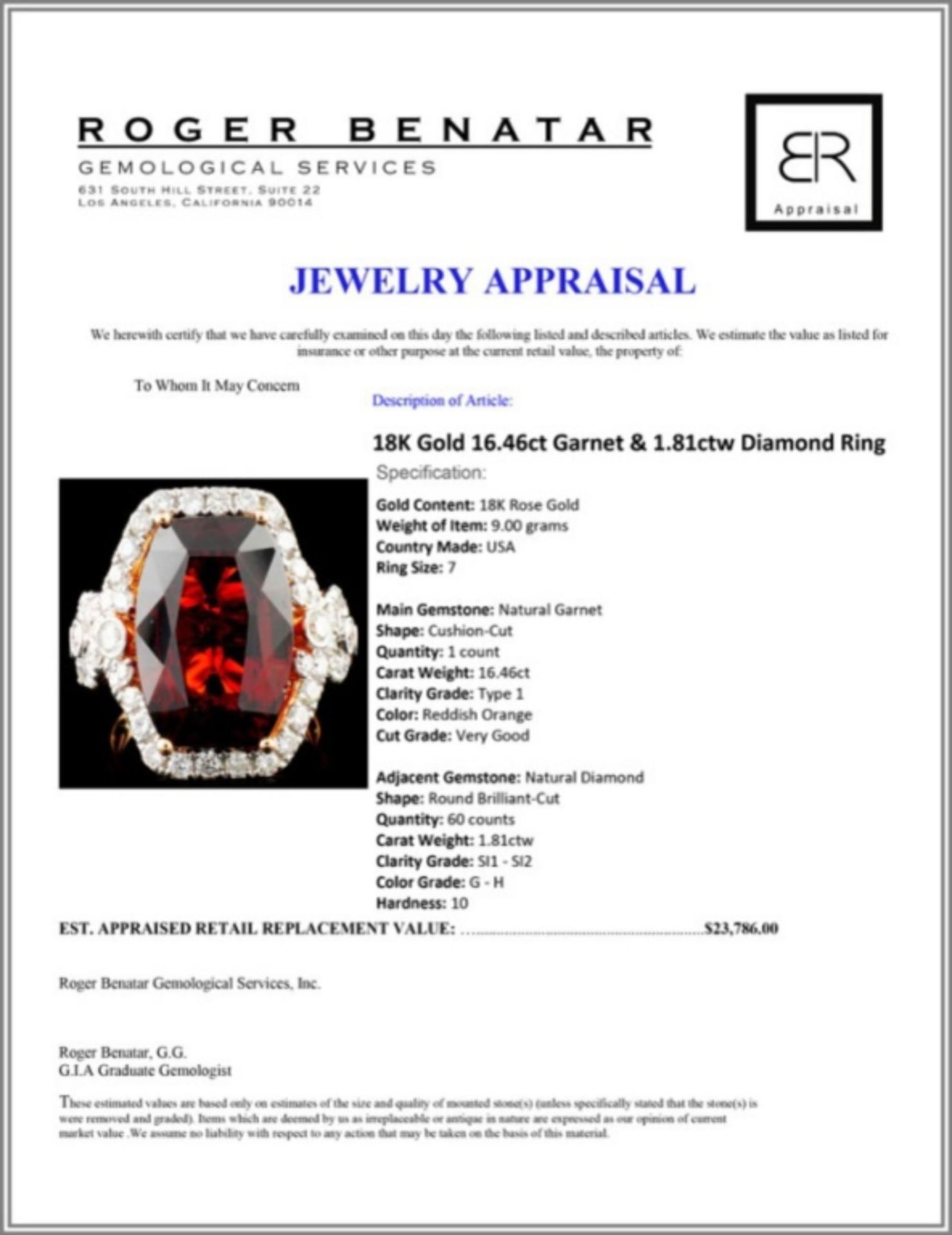 18K Gold 16.46ct Garnet & 1.81ctw Diamond Ring - Image 5 of 5