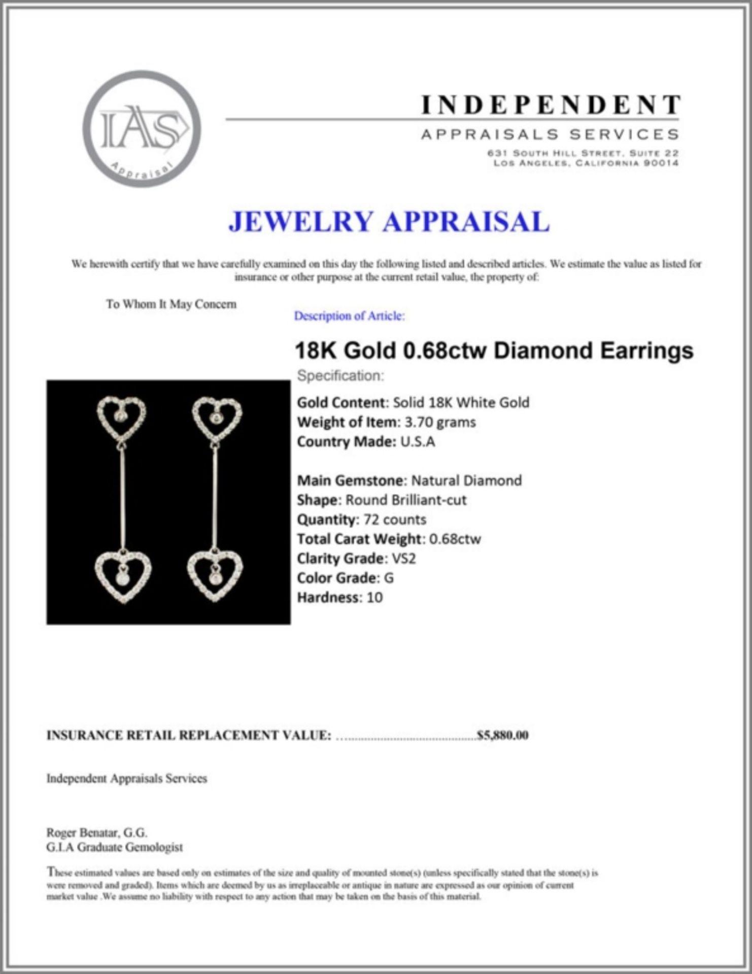 18K Gold 0.68ctw Diamond Earrings - Image 3 of 3