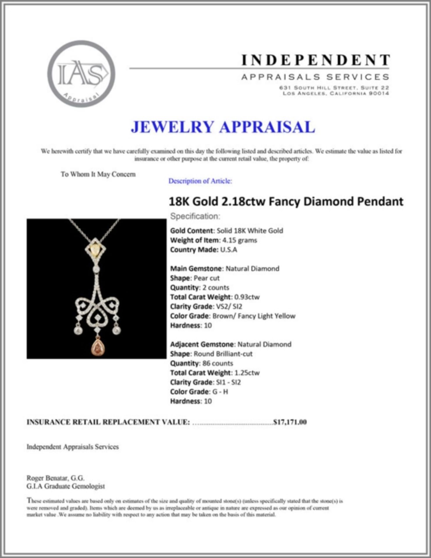 18K Gold 2.18ctw Fancy Diamond Pendant - Image 4 of 4