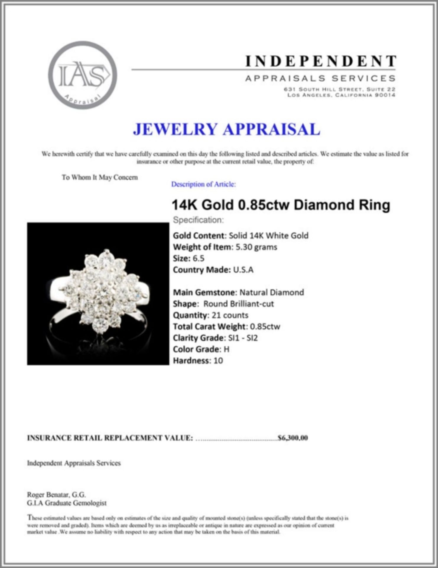 14K Gold 0.85ctw Diamond Ring - Image 5 of 5