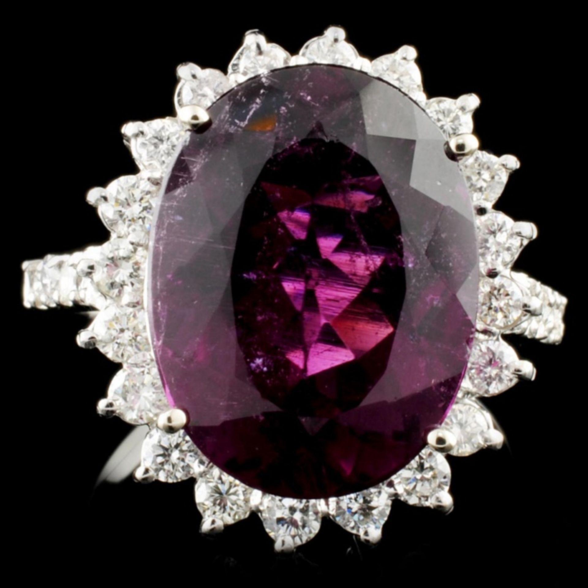 14K Gold 7.72ct Tourmaline & 0.81ctw Diamond Ring