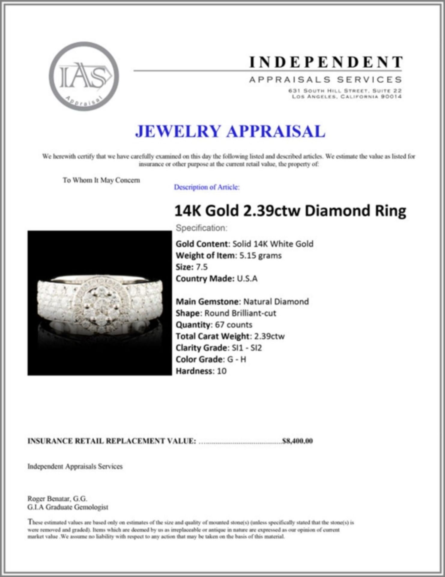 14K Gold 2.39ctw Diamond Ring - Image 5 of 5
