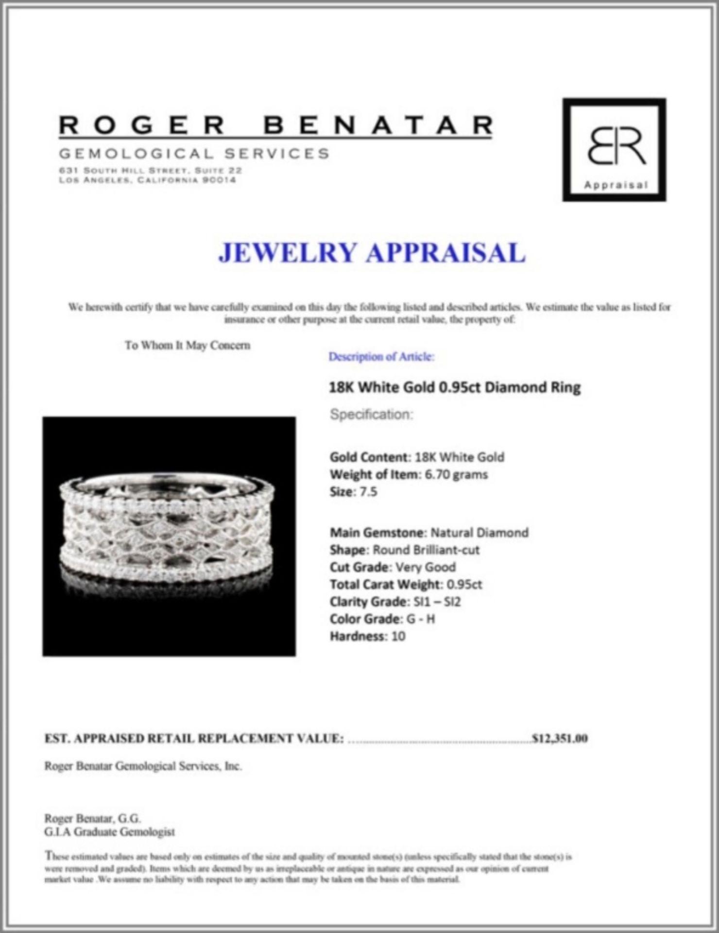 18K White Gold 0.95ct Diamond Ring - Image 3 of 3