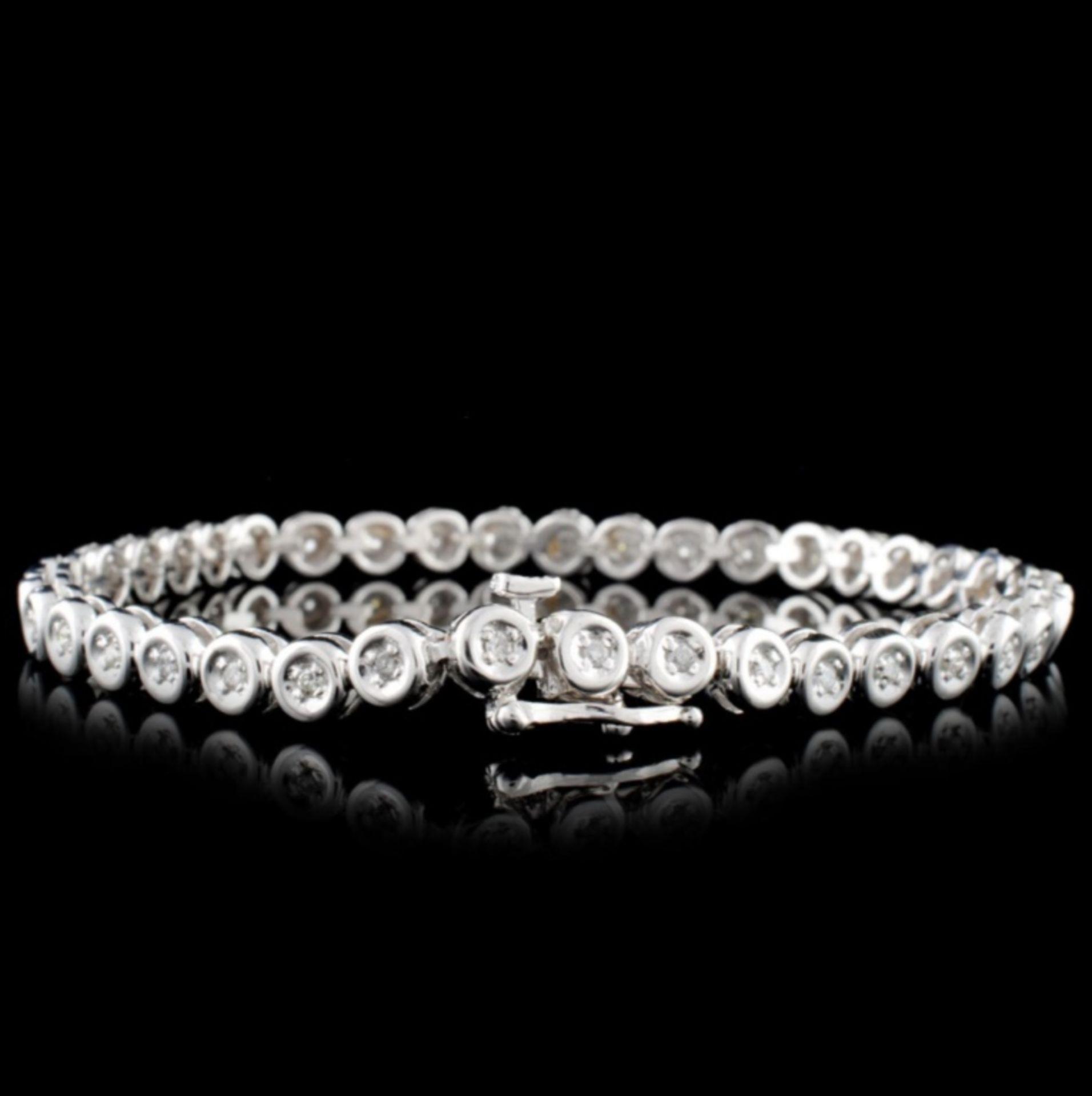 14K White Gold 0.50ctw Diamond Bracelet - Image 2 of 3