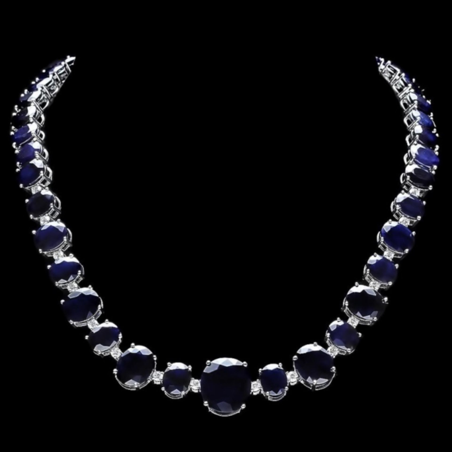 `14k Gold 170.00ct Sapphire & 2.00ct Diamond Neckl