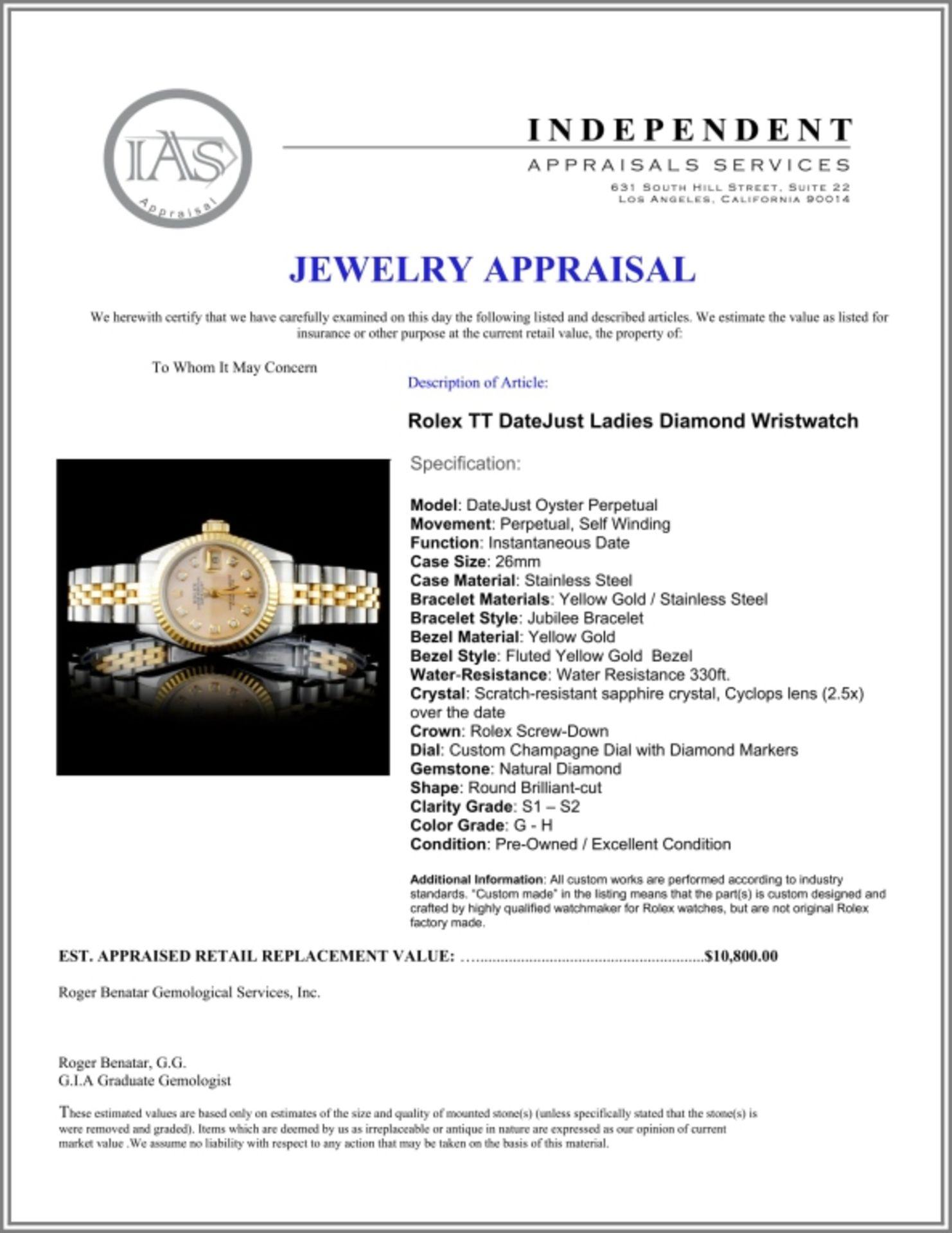 Rolex DateJust Ladies Diamond Wristwatch - Image 5 of 5