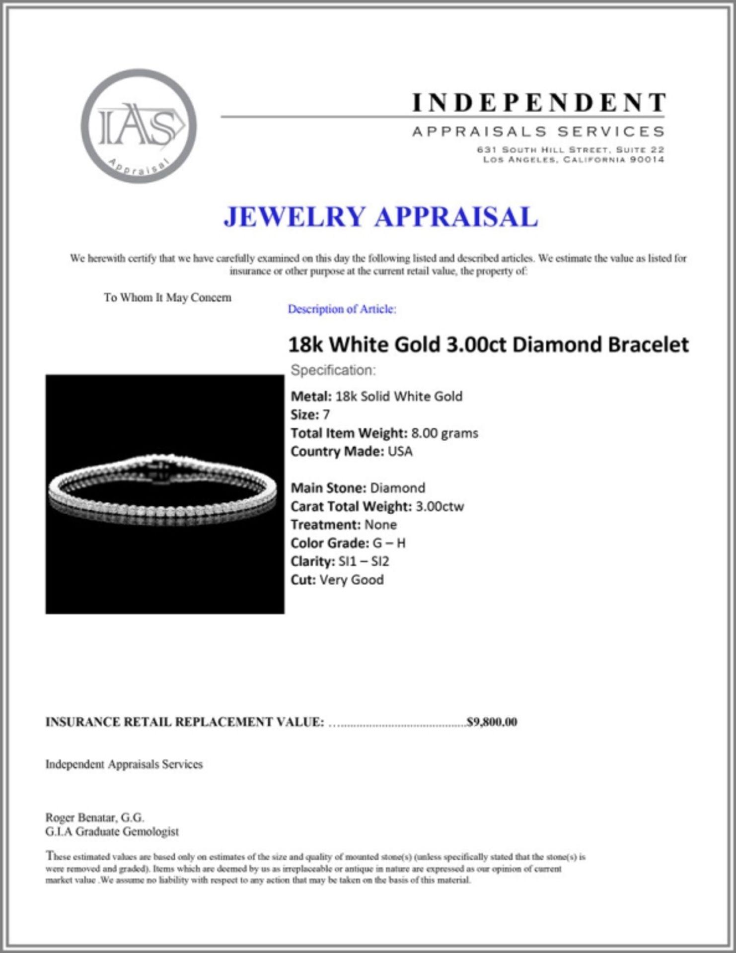 18k White Gold 3.00ct Diamond Bracelet - Image 4 of 4