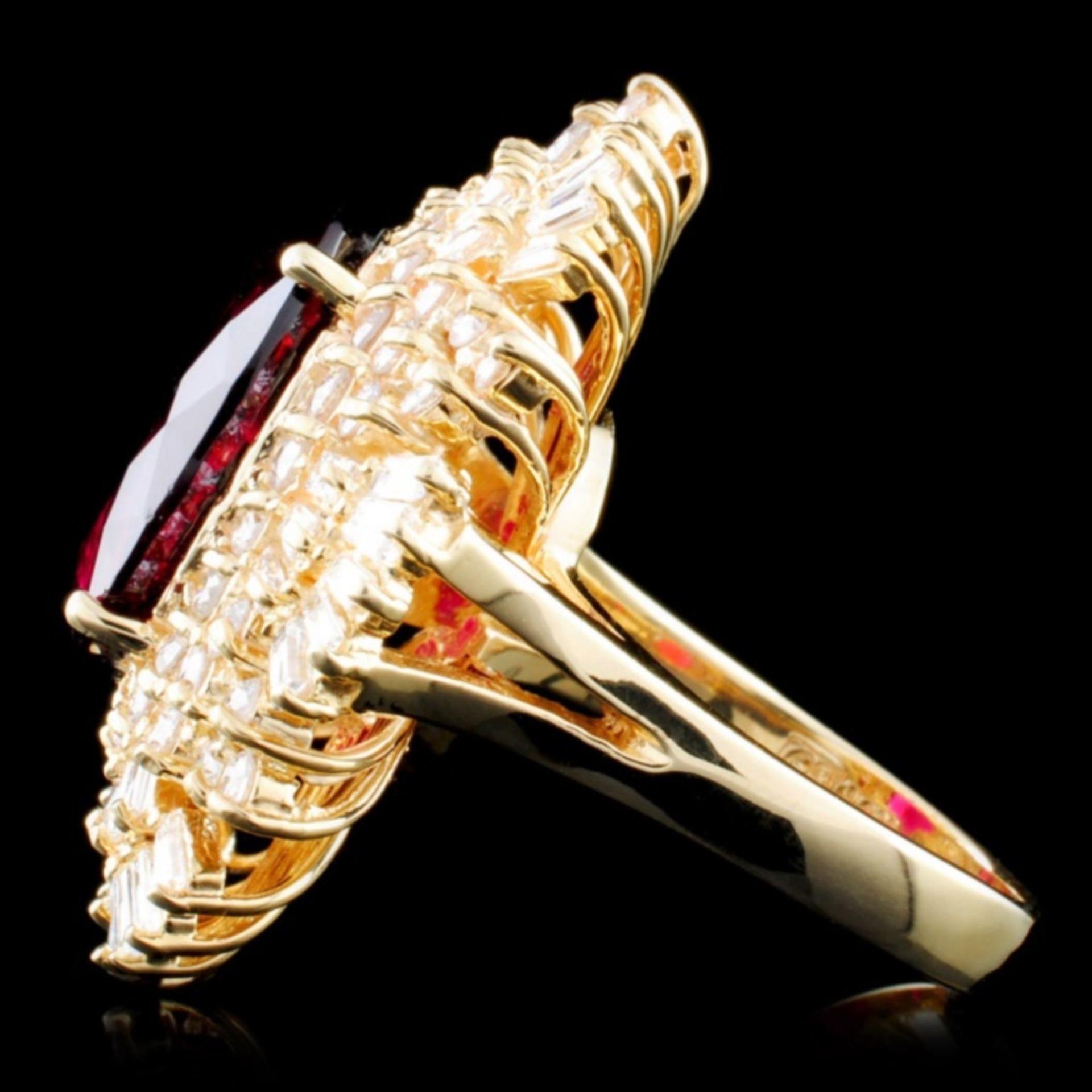 14K Gold 7.83ct Tourmaline & 2.55ctw Diamond Ring - Image 3 of 4