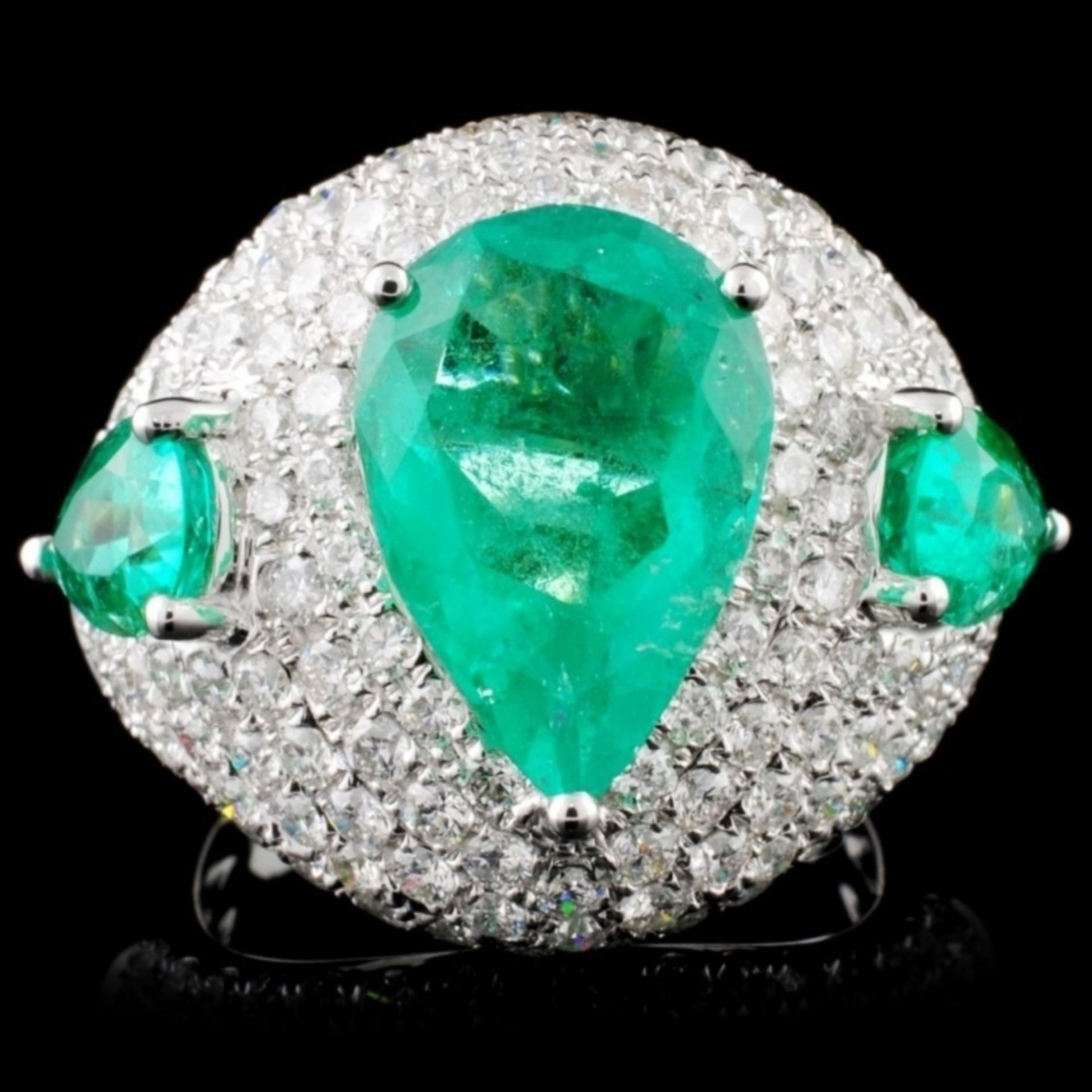 18K Gold 5.07ct Emerald & 2.52ct Diamond Ring