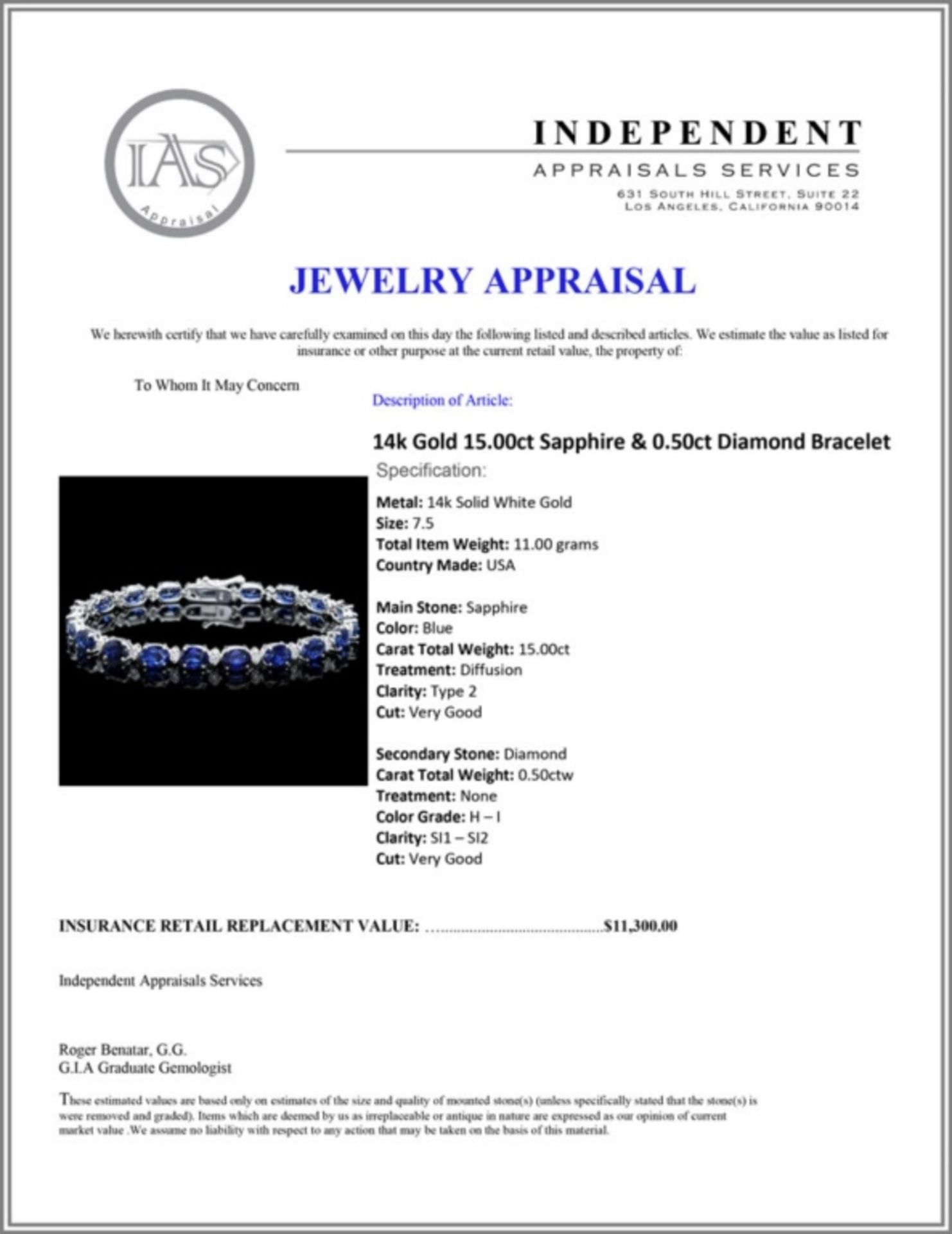 `14k Gold 15.00ct Sapphire & 0.50ct Diamond Bracel - Image 3 of 3