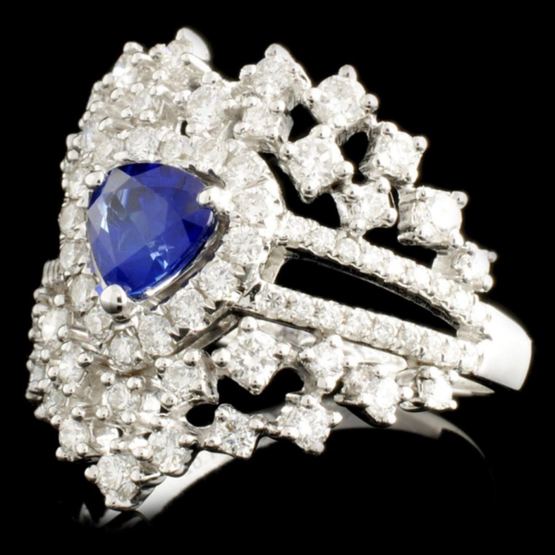 18K Gold 0.83ct Sapphire & 1.02ctw Diamond Ring - Image 2 of 4