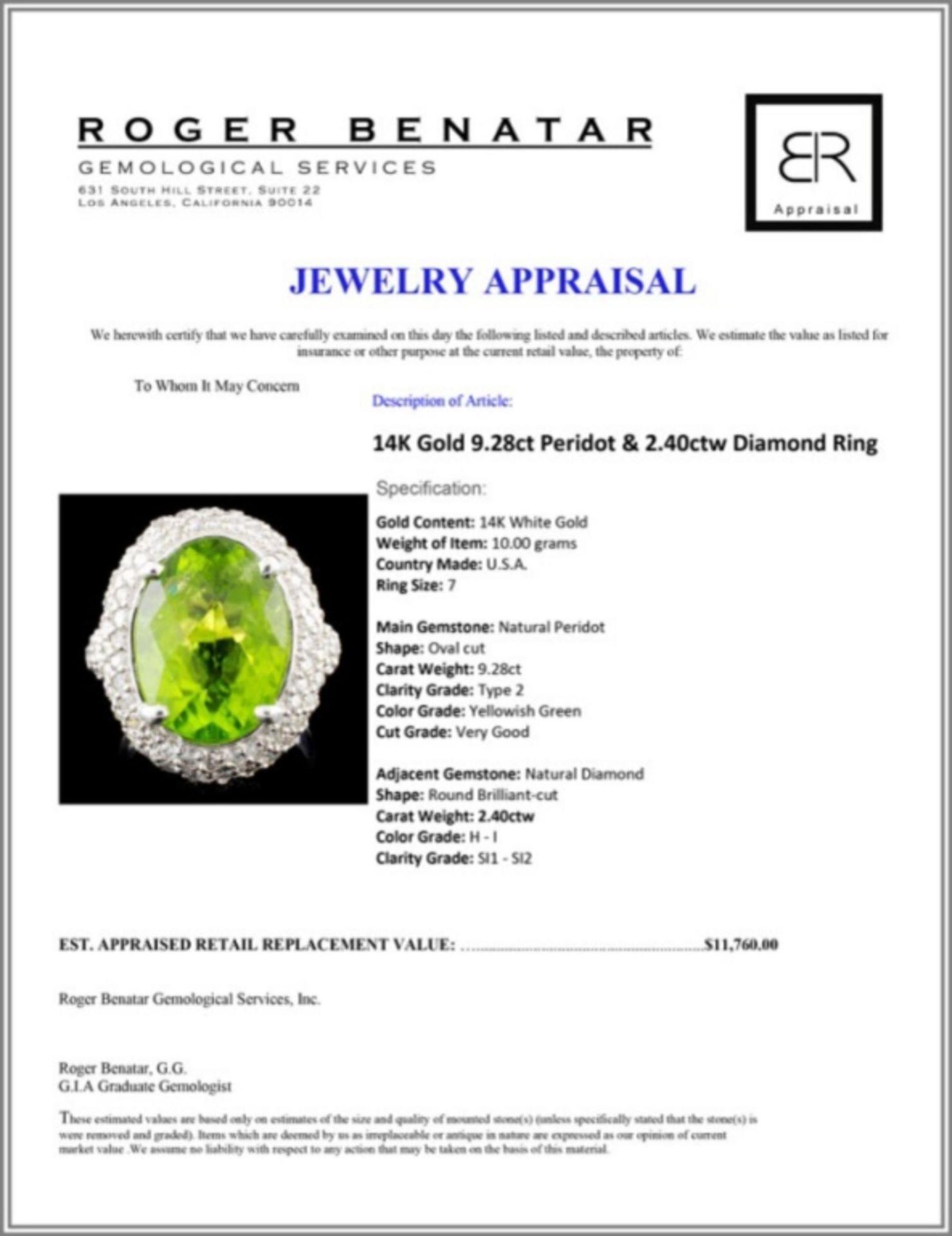 14K Gold 9.28ct Peridot & 2.40ctw Diamond Ring - Image 5 of 5