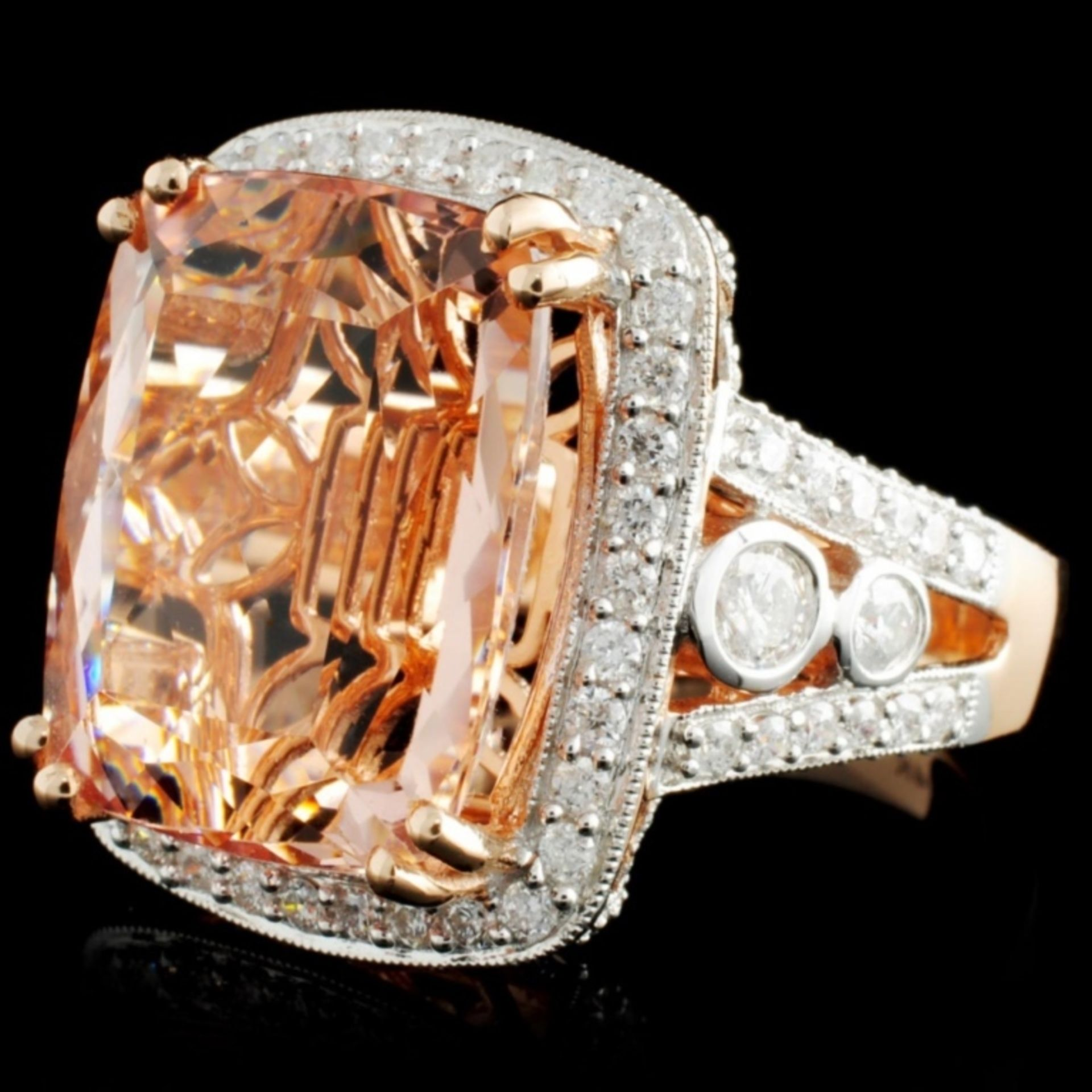 14K Rose Gold 13.88ct Morganite & 1.53ct Diamond R - Image 2 of 4