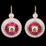 14K Gold 1.81ct Ruby & 2.32ctw Diamond Earrings