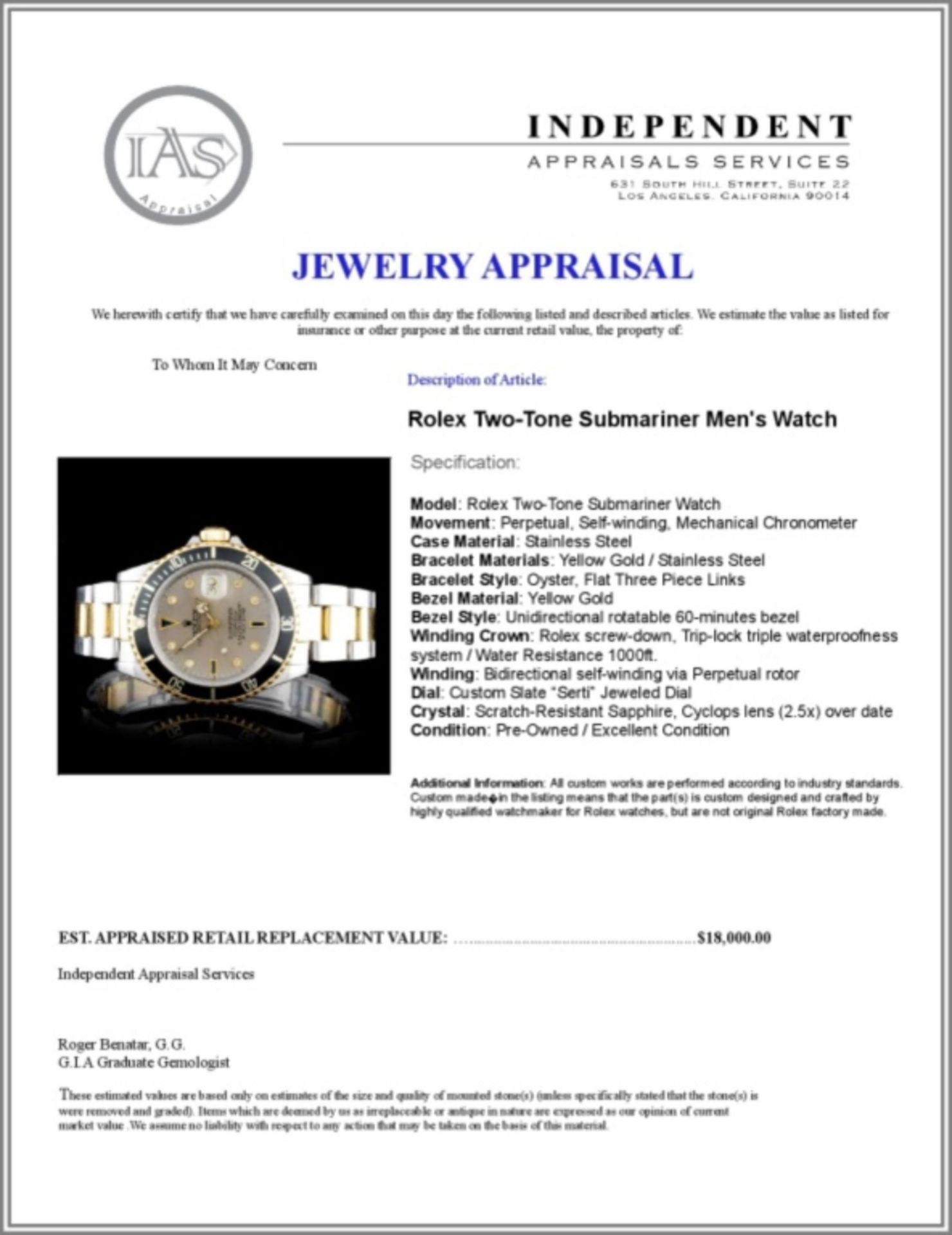 Rolex YG/SS Submariner Diamond 40MM Watch - Image 5 of 5