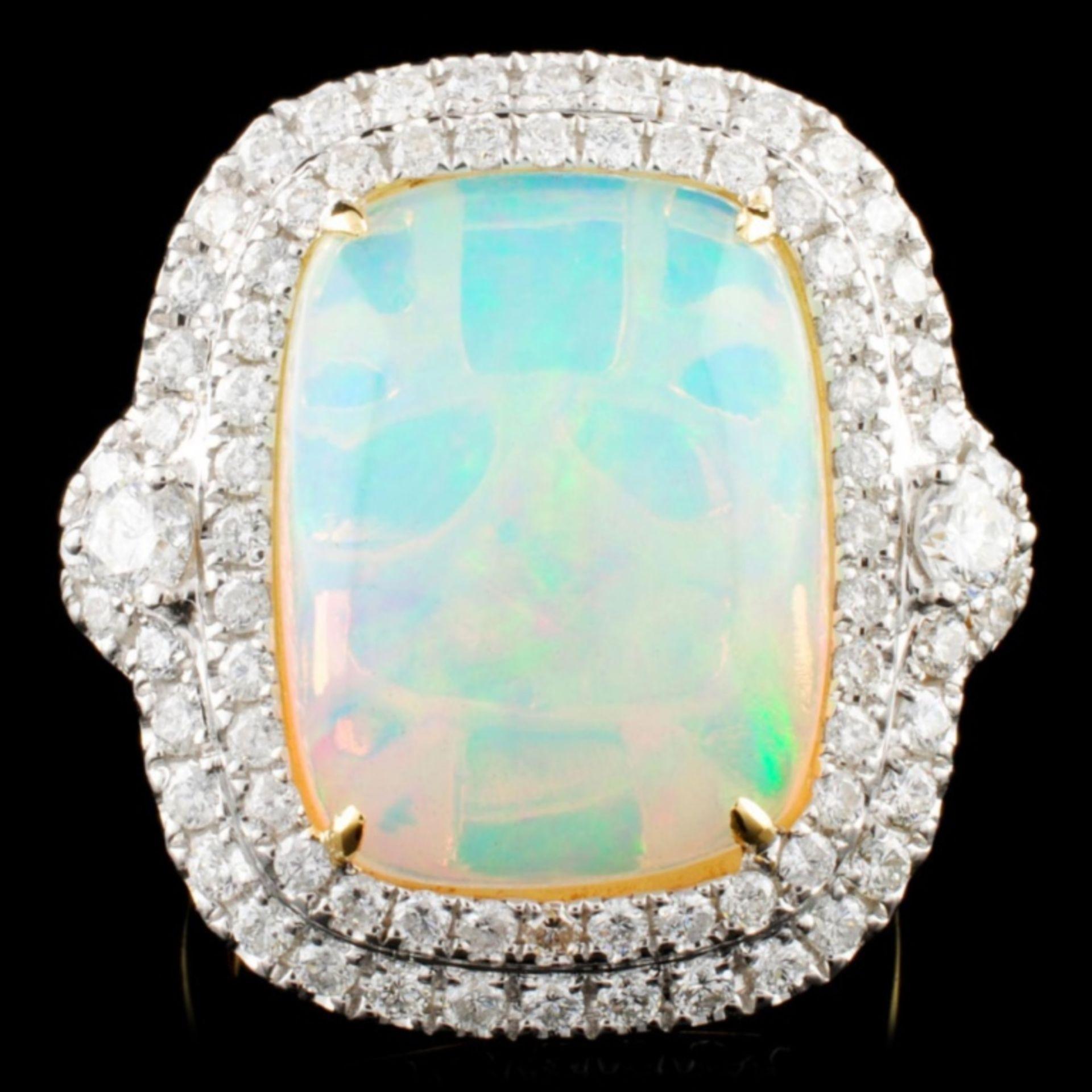 18K Gold 8.34ct Opal & 1.30ctw Diamond Ring
