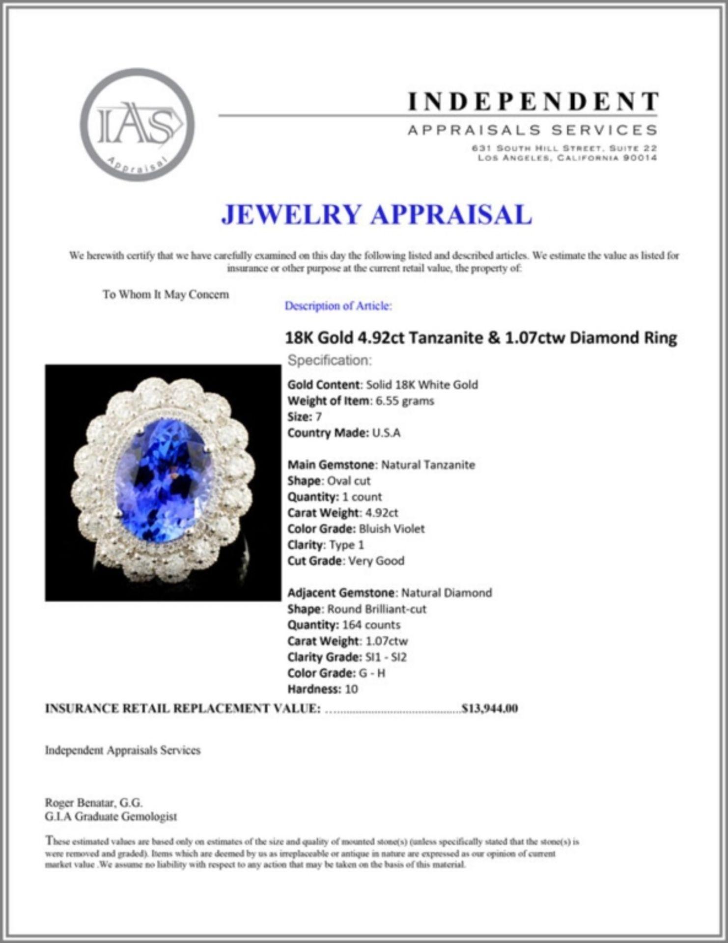 18K Gold 4.92ct Tanzanite & 1.07ctw Diamond Ring - Image 5 of 5