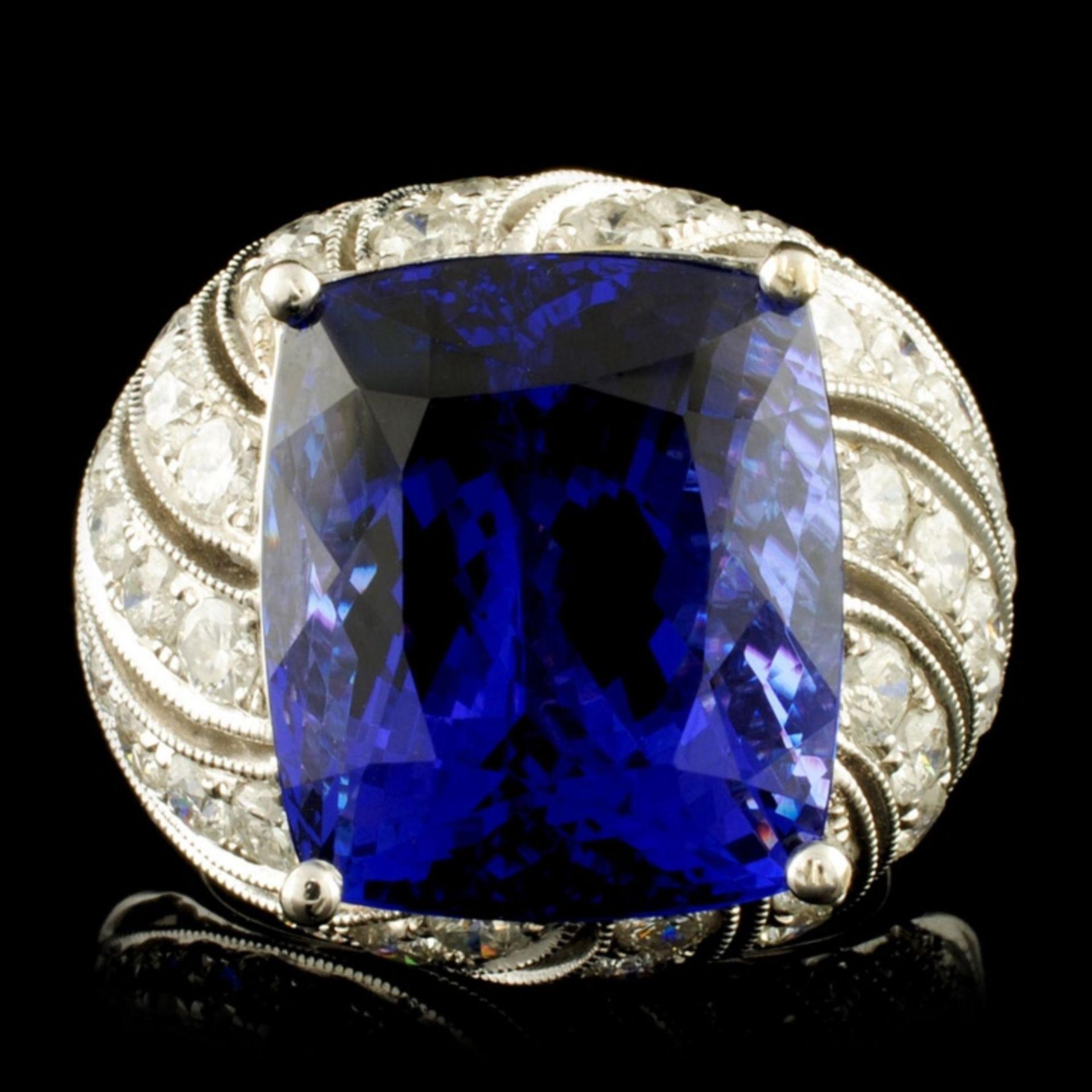 18K Gold 16.72ct Tanzanite & 2.78ctw Diamond Ring