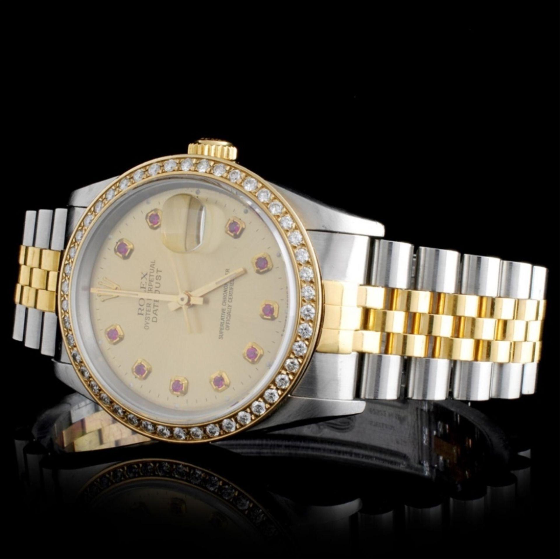 Rolex YG/SS DateJust 1.50ct Diamond 36MM Watch - Image 2 of 4