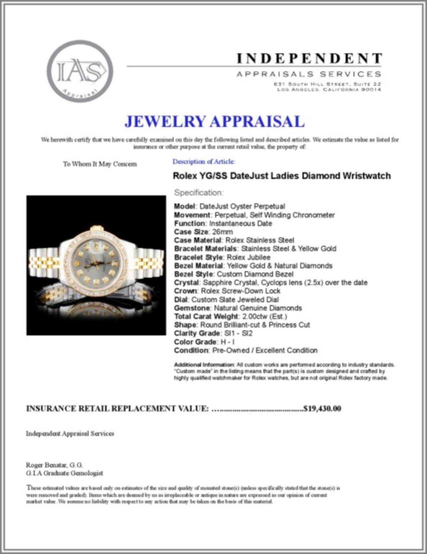 Rolex YG/SS DateJust Ladies Diamond Wristwatch - Image 5 of 5