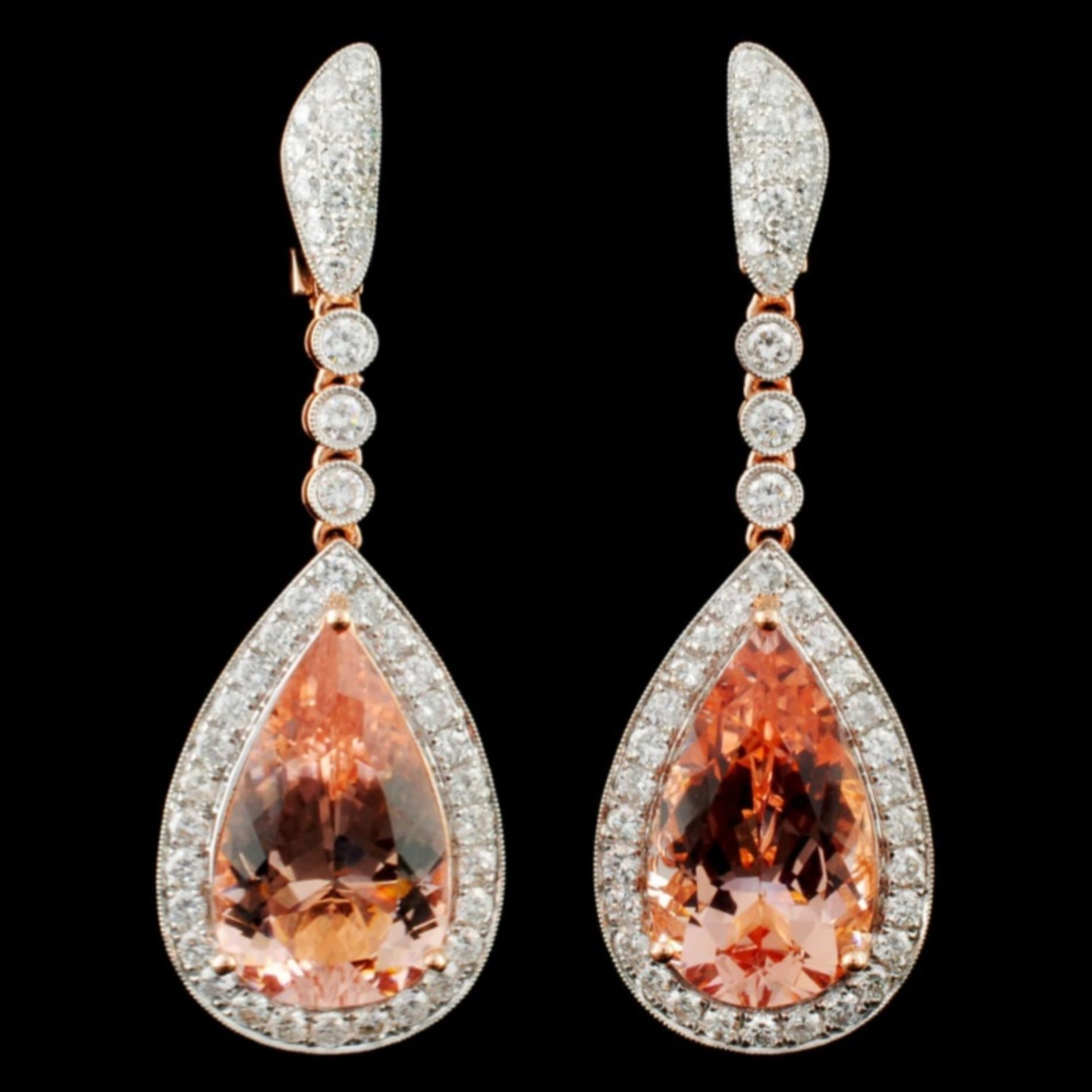 14K Gold 17.44ct Morganite & 2.61ctw Diamond Earri