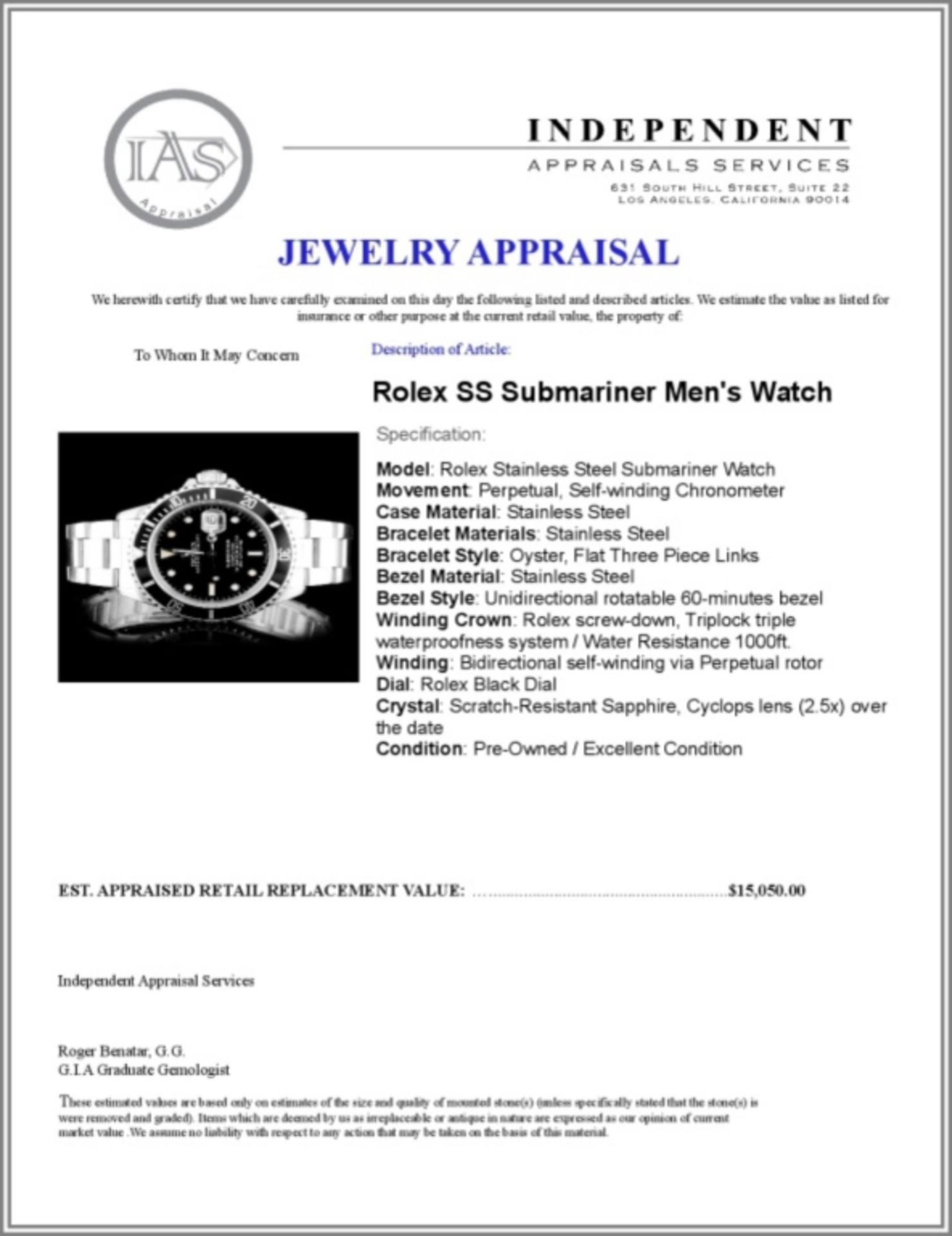 Rolex SS Submariner 40MM Wristwatch - Image 5 of 5