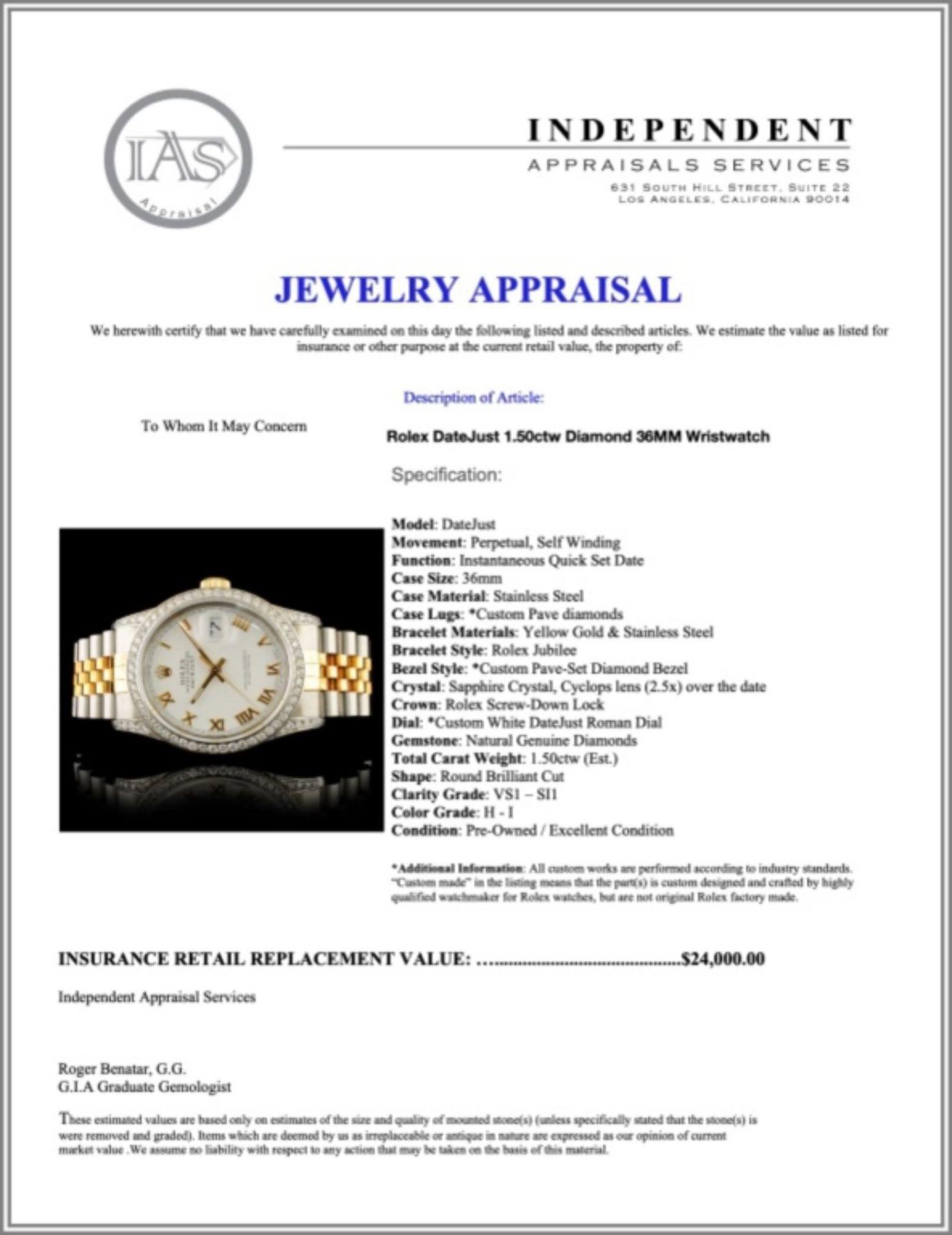 Rolex DateJust 1.50ctw Diamond 36MM Wristwatch - Image 5 of 5