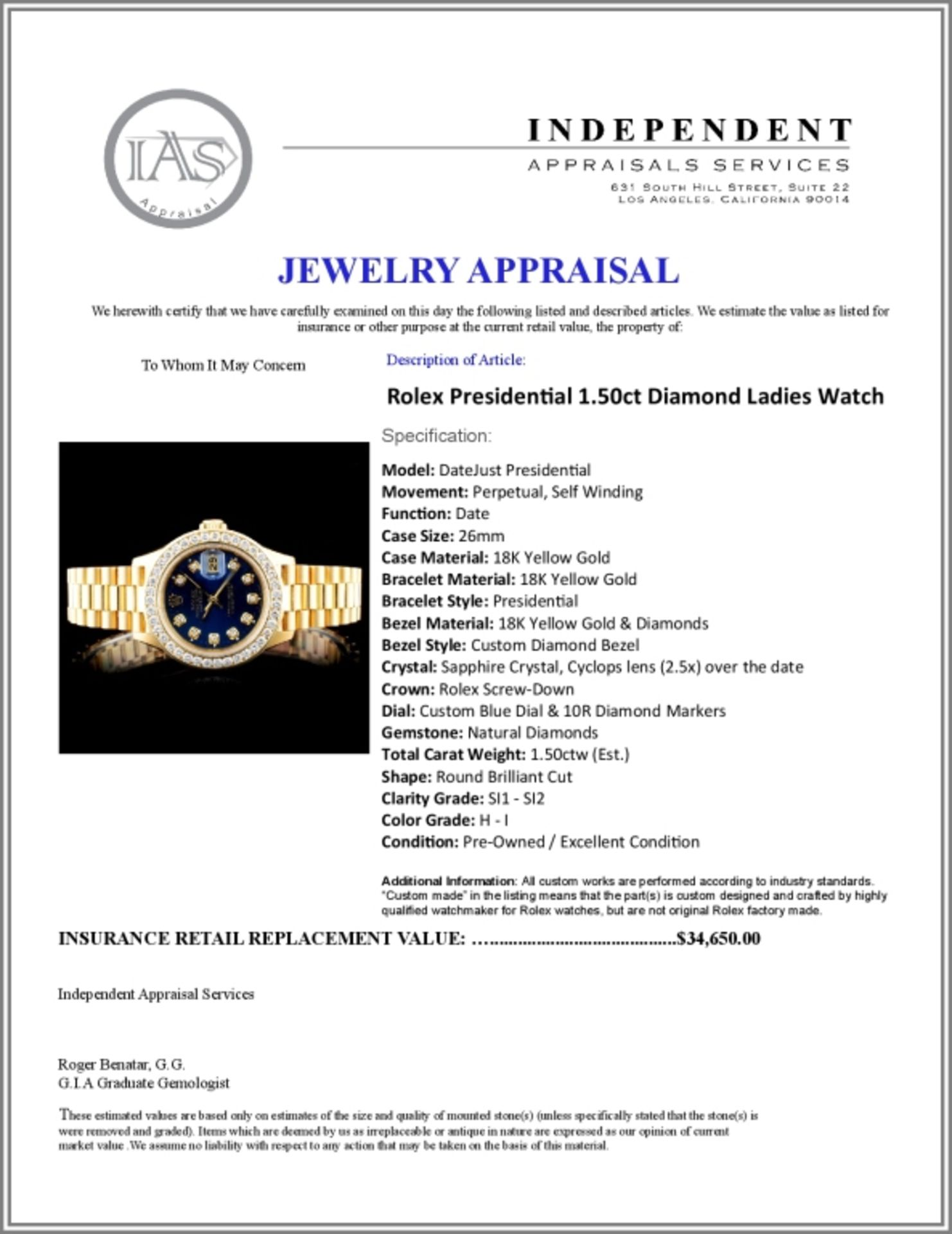 Rolex Presidential Diamond Ladies Watch - Image 6 of 6
