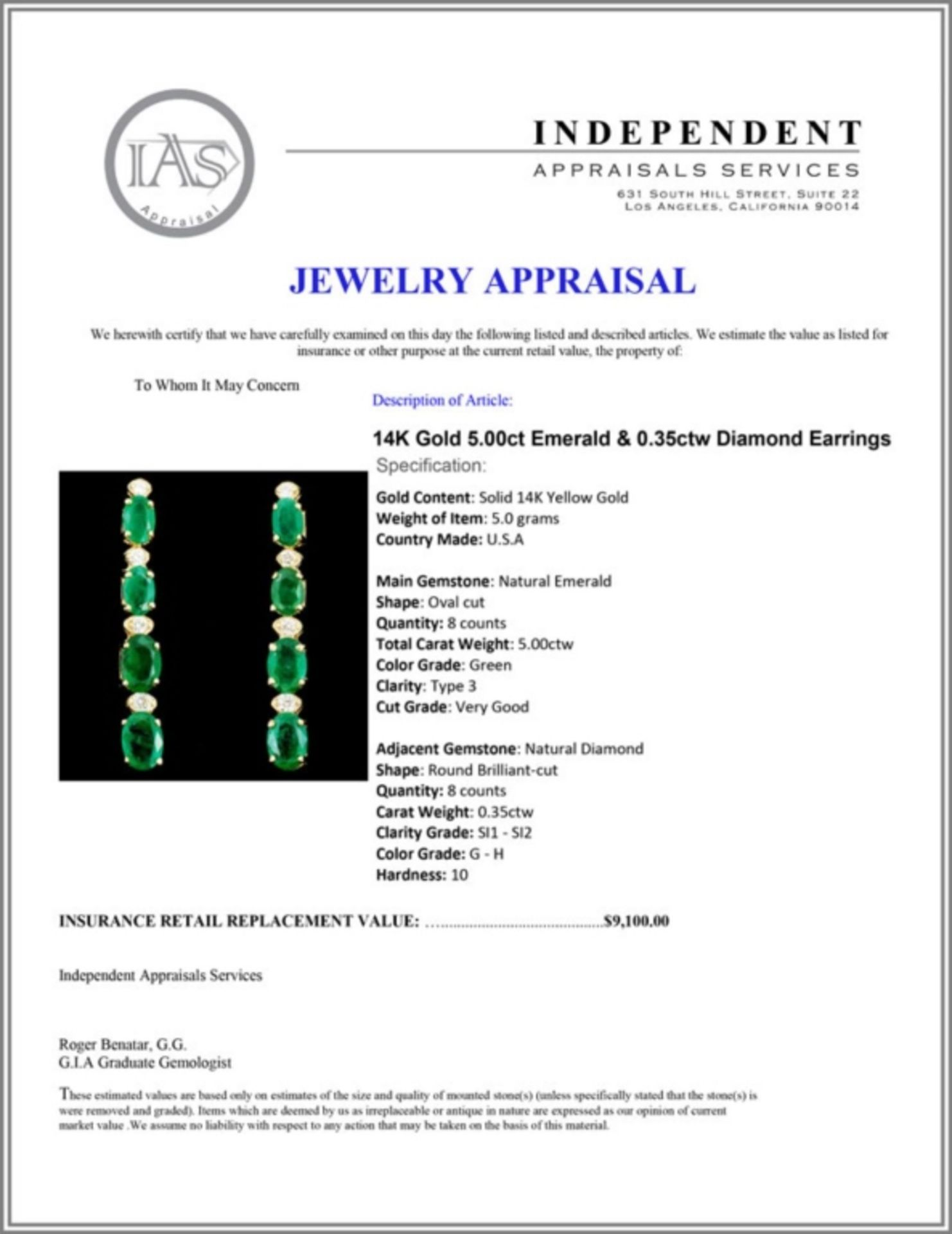 14K Gold 5.00ct Emerald & 0.35ctw Diamond Earrings - Image 3 of 3