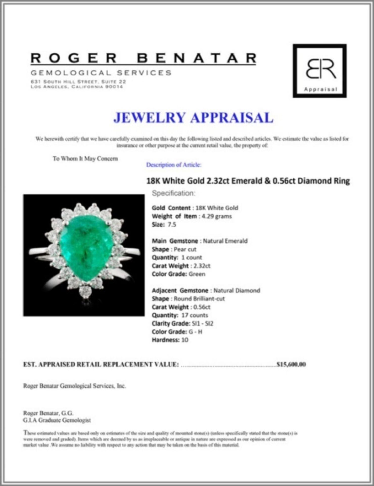 18K White Gold 2.32ct Emerald & 0.56ct Diamond Rin - Image 4 of 4