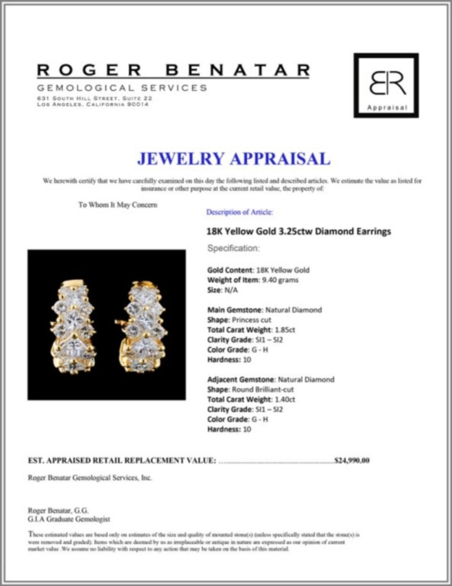18K Yellow Gold 3.25ctw Diamond Earrings - Image 3 of 3