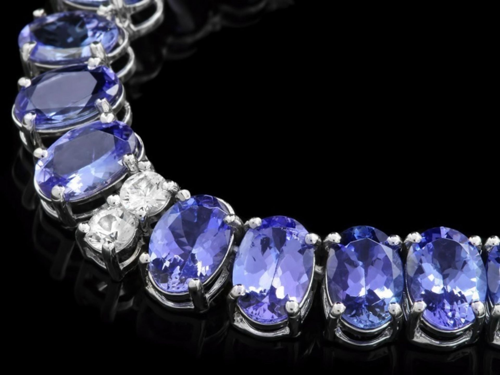 `14k Gold 55.00ct Tanzanite & 1.35ct Diamond Neckl - Image 4 of 5