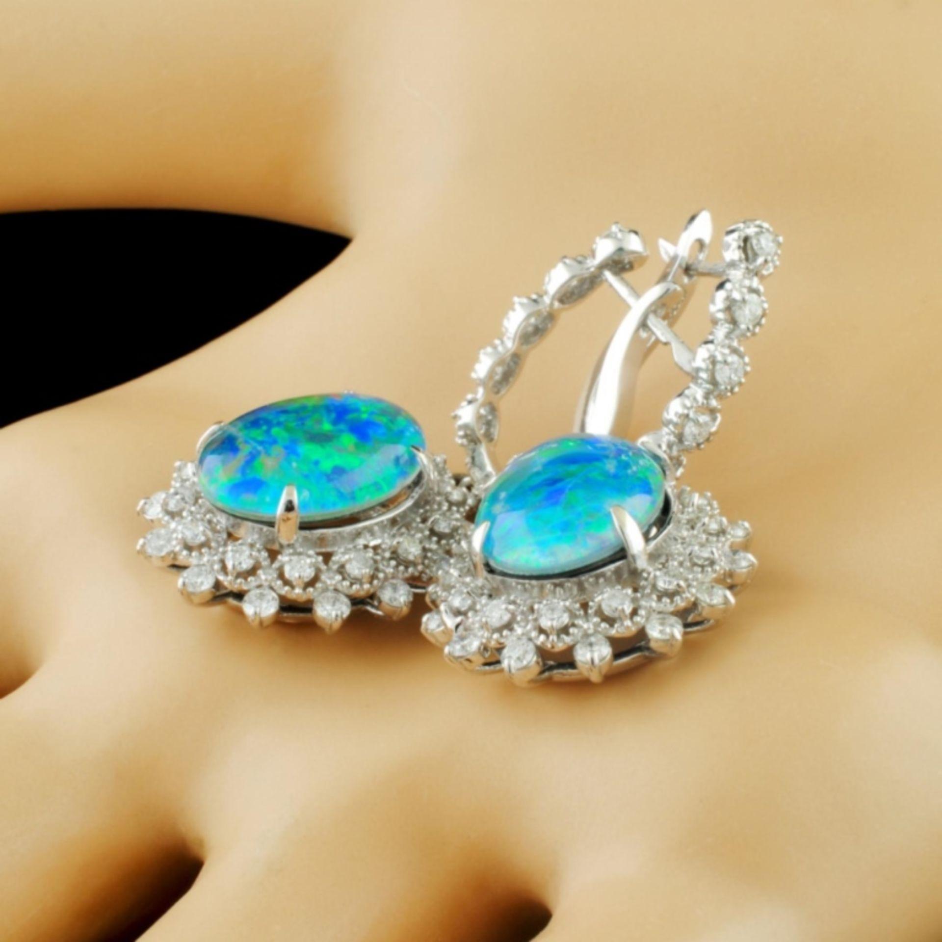 14K Gold 10.00ct Opal & 1.70ctw Diamond Earrings - Image 2 of 3