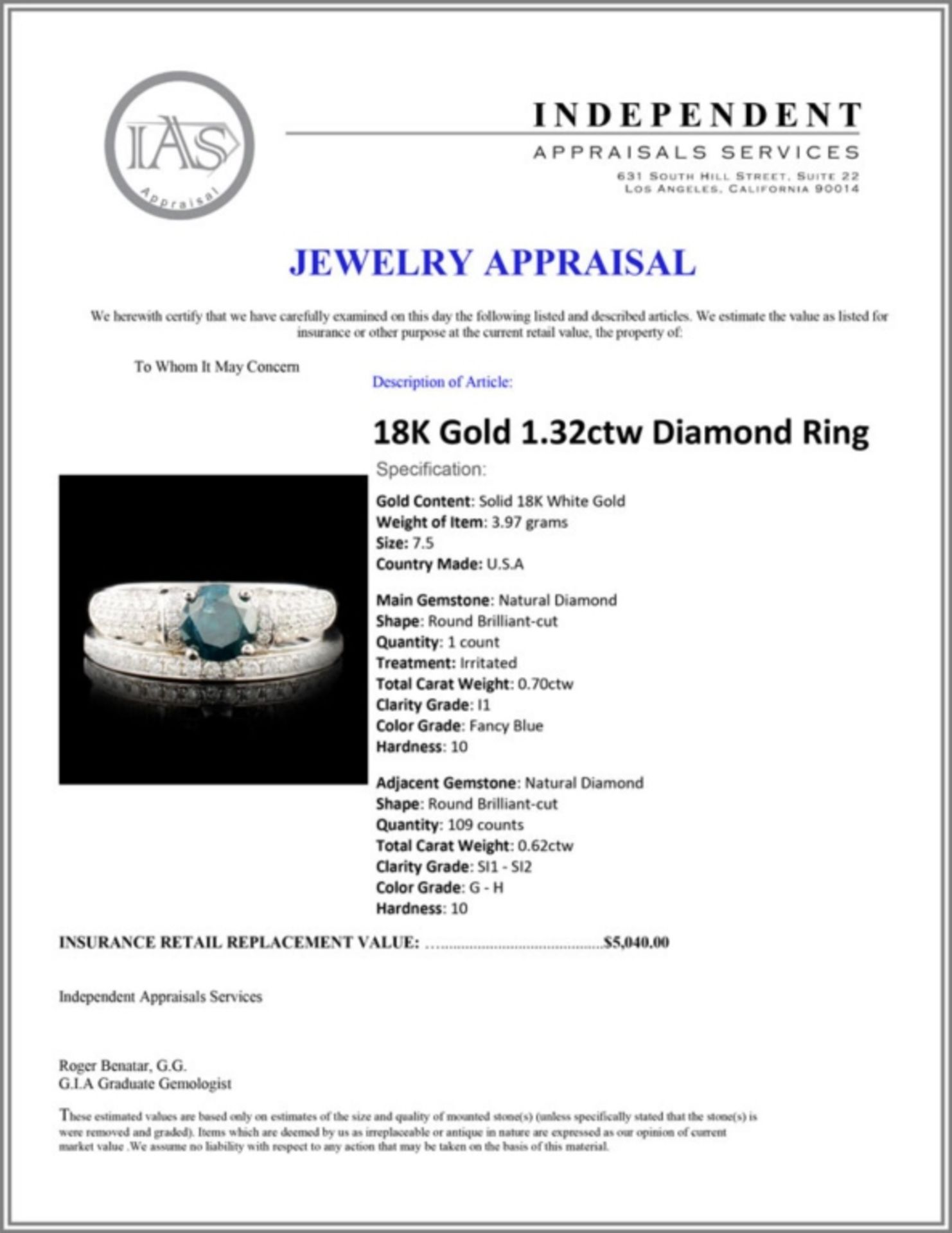 18K Gold 1.32ctw Diamond Ring - Image 5 of 5