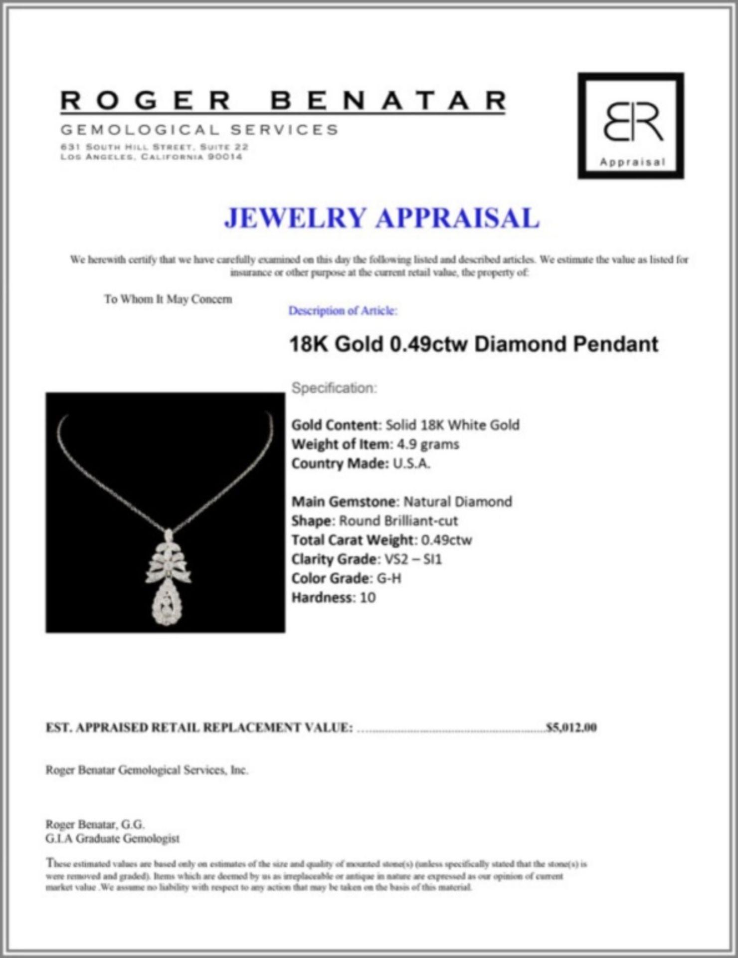 18K Gold 0.49ctw Diamond Pendant - Image 3 of 3