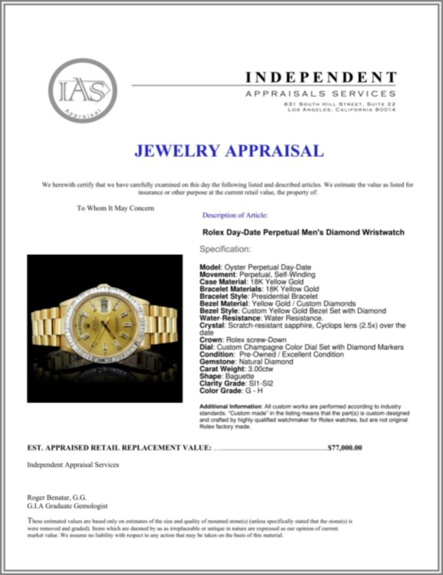 Rolex Day-Date Diamond 36mm Wristwatch - Image 6 of 6