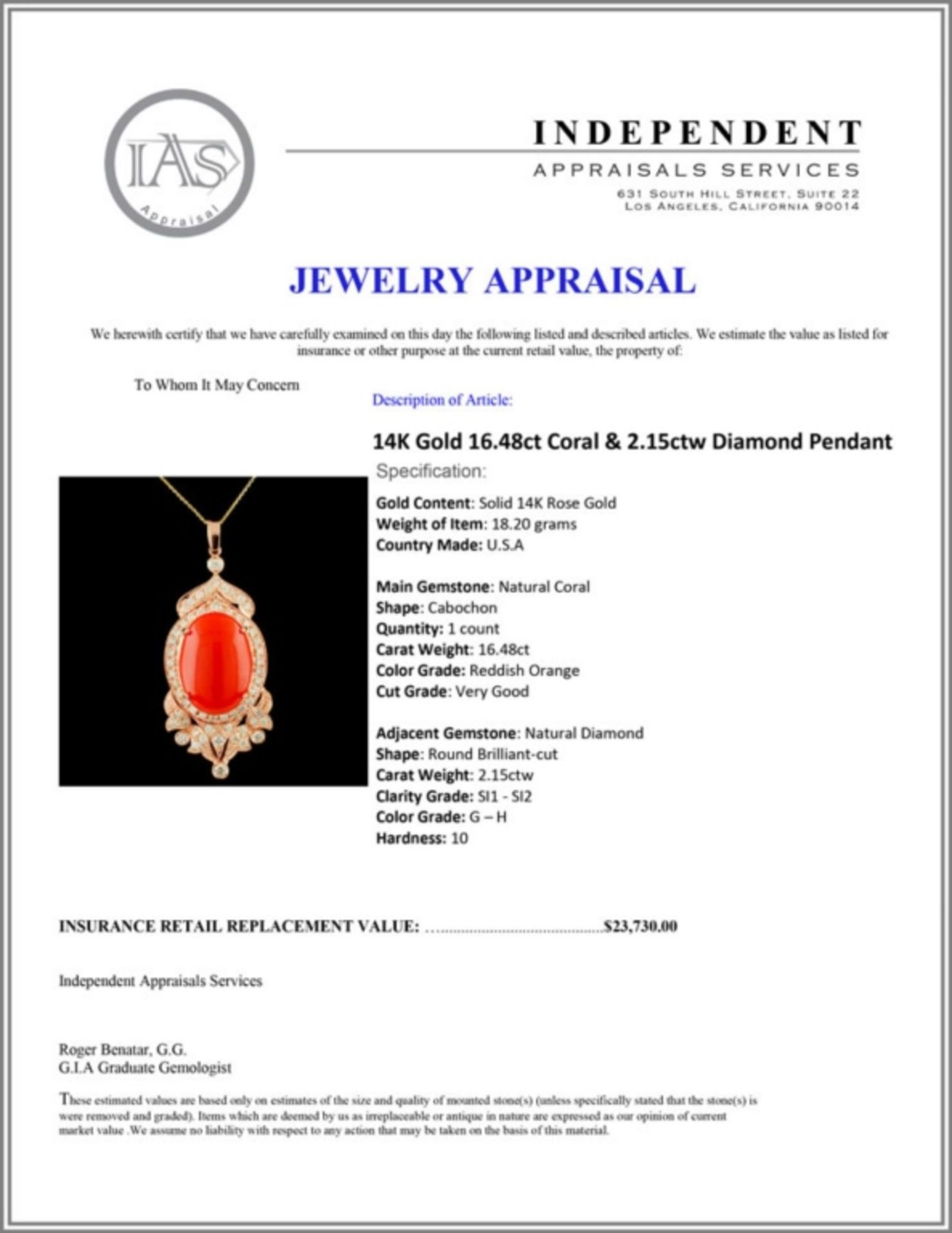14K Gold 16.48ct Coral & 2.15ctw Diamond Pendant - Image 4 of 4
