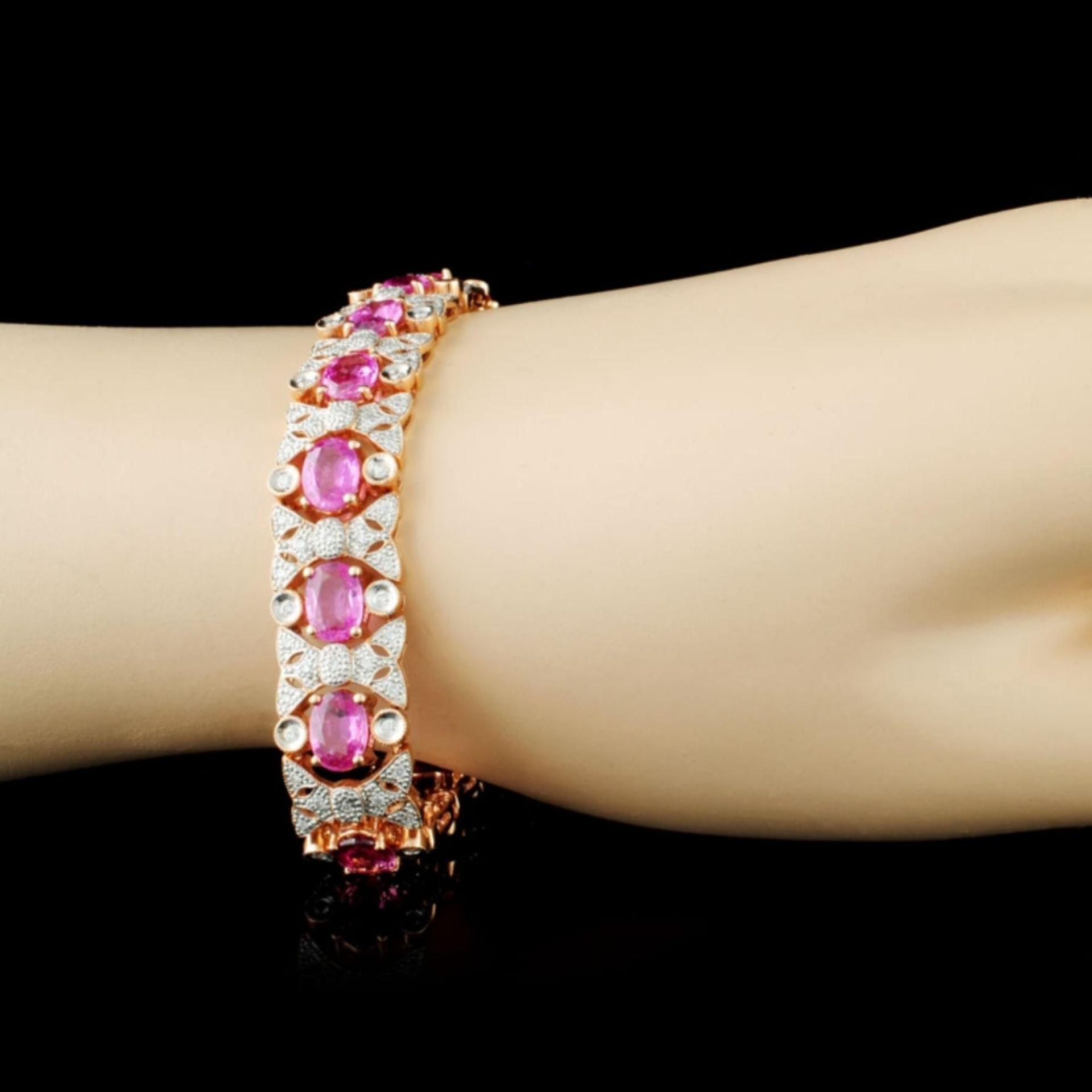 14K Gold 13.81ct Sapphire & 1.20ctw Diamond Bracel - Image 3 of 3