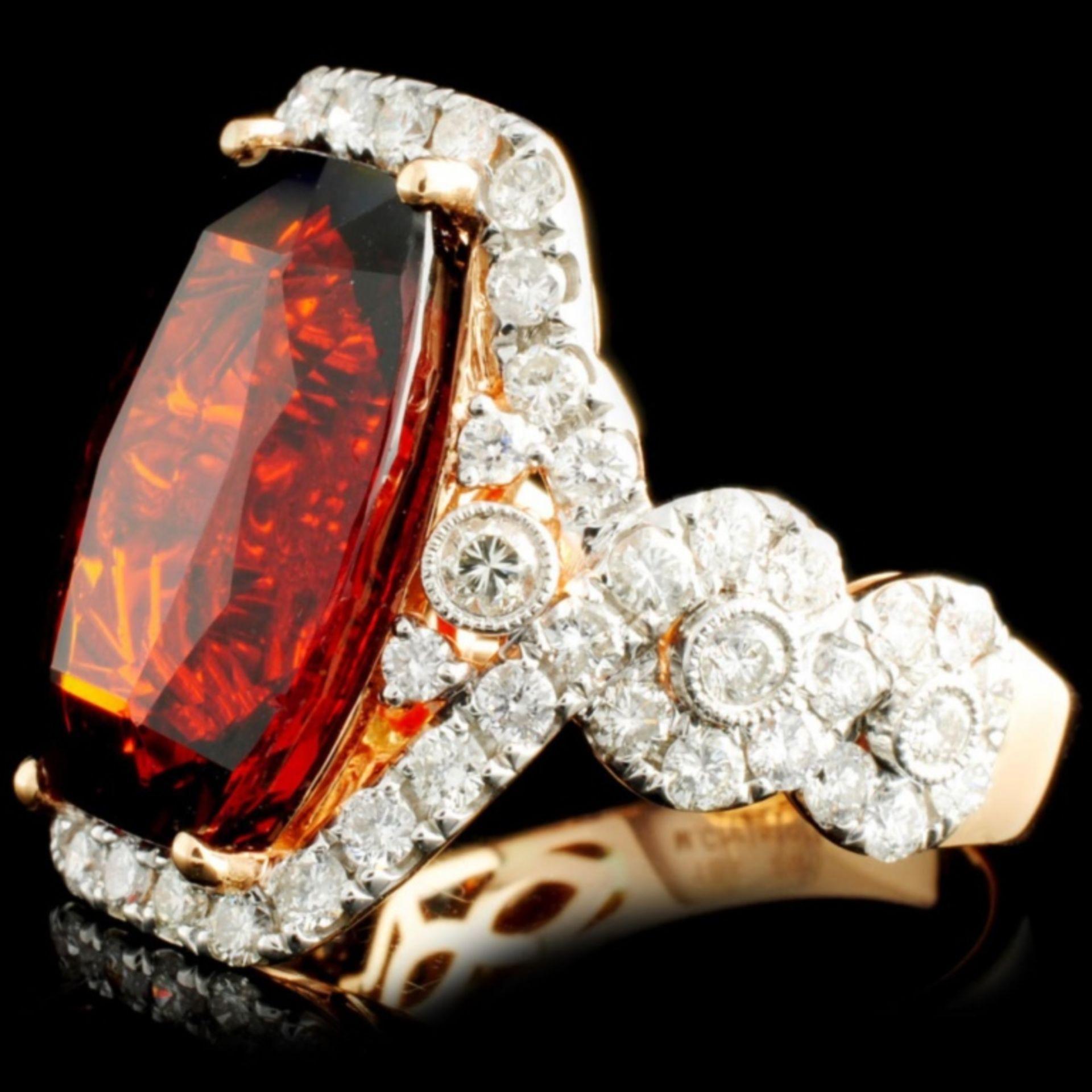 18K Gold 16.46ct Garnet & 1.81ctw Diamond Ring - Image 2 of 5