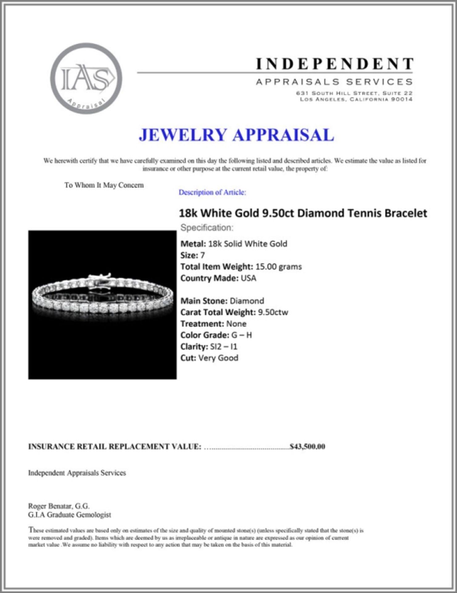 18k White Gold 9.50ct Diamond Tennis Bracelet - Image 4 of 4