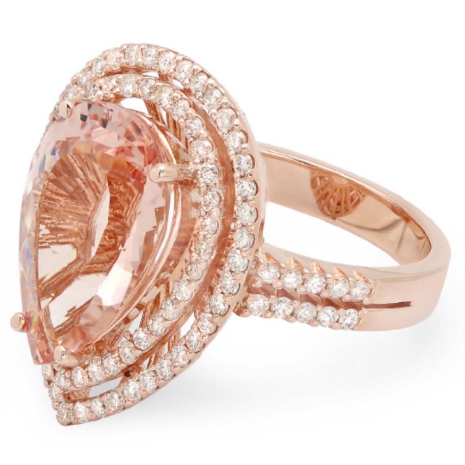 14K Gold 6.00ct Morganite & 1.00ct Diamond Ring - Image 2 of 2