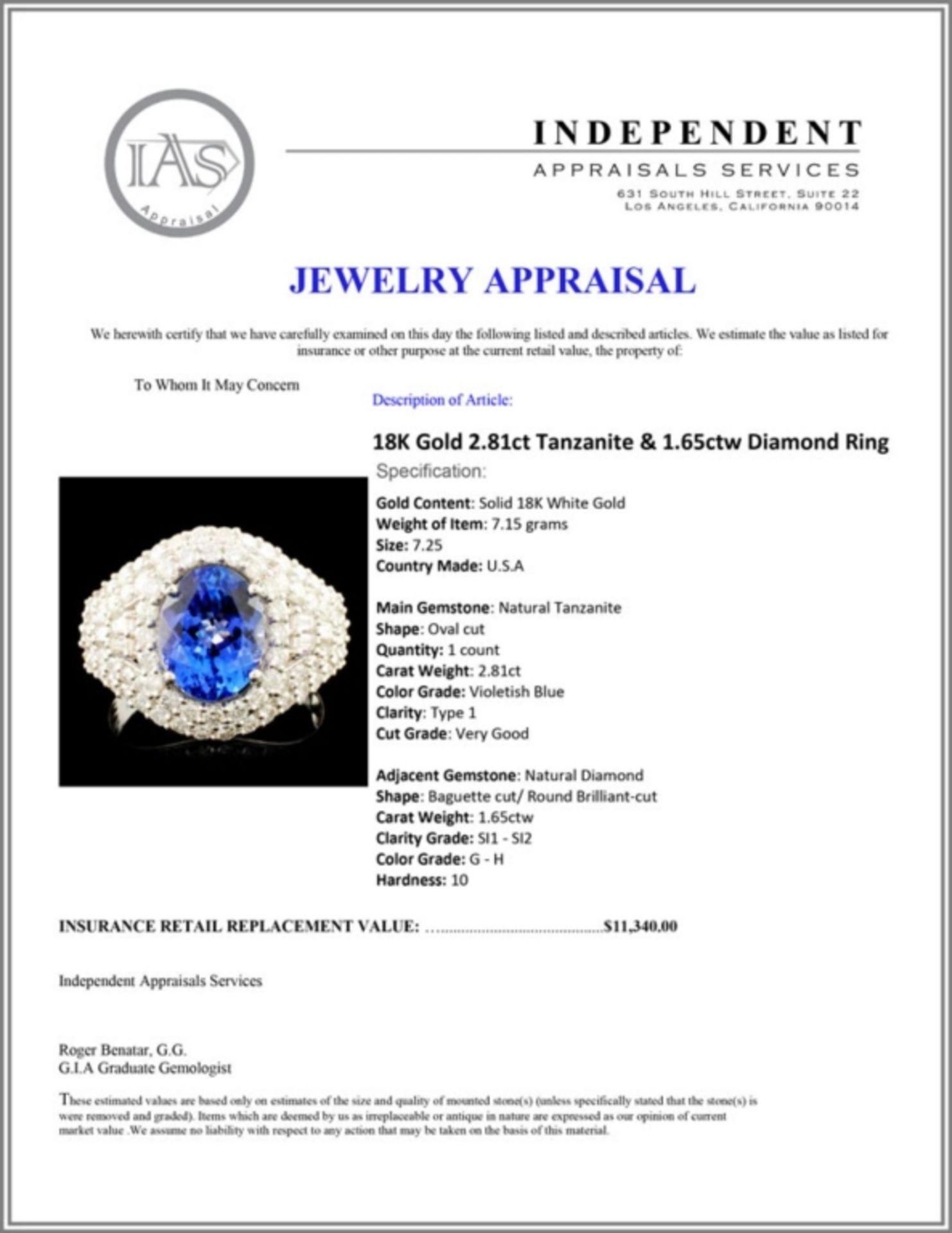 18K Gold 2.81ct Tanzanite & 1.65ctw Diamond Ring - Image 5 of 5